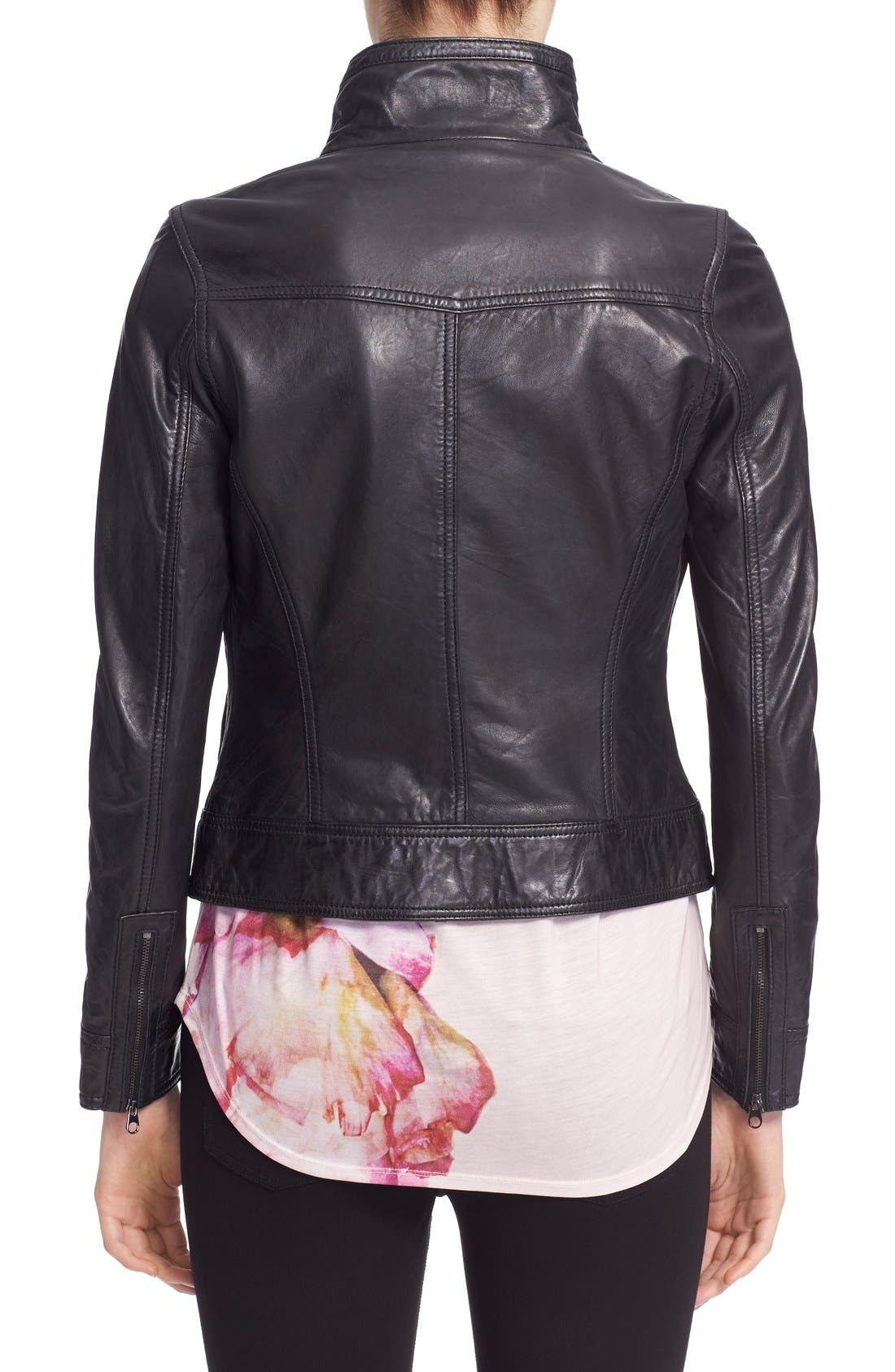 'Roark' Stand Collar Leather Jacket,                             Alternate thumbnail 3, color,                             001