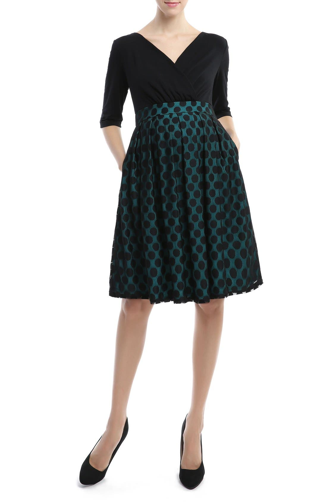 Vintage Maternity Clothes History Womens Kimi And Kai Liliana Polka Dot Lace Maternity Dress Size Small - Bluegreen $138.00 AT vintagedancer.com