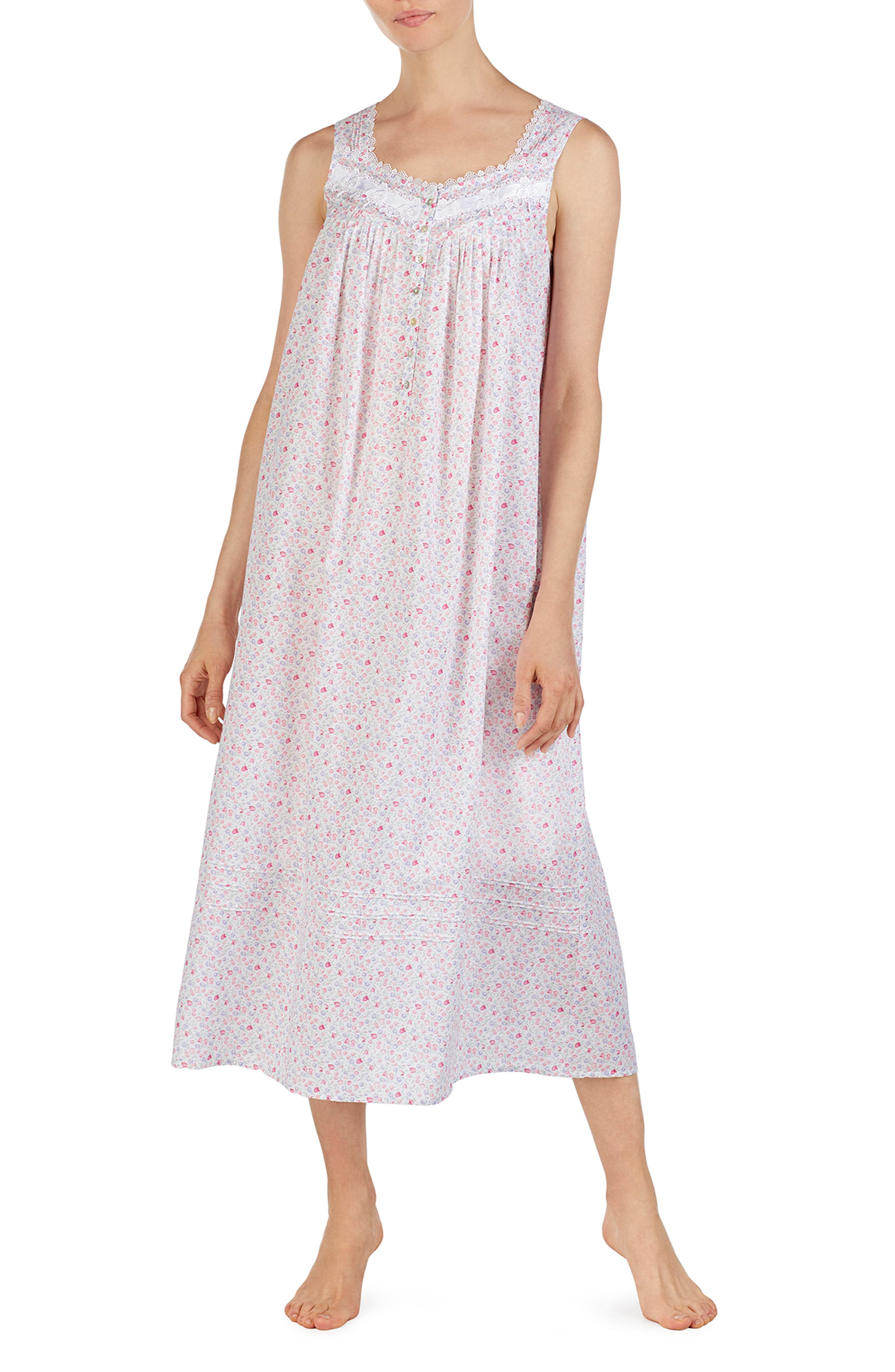 EILEEN WEST Cotton Lawn Nightgown, Main, color, MULTI DITSY