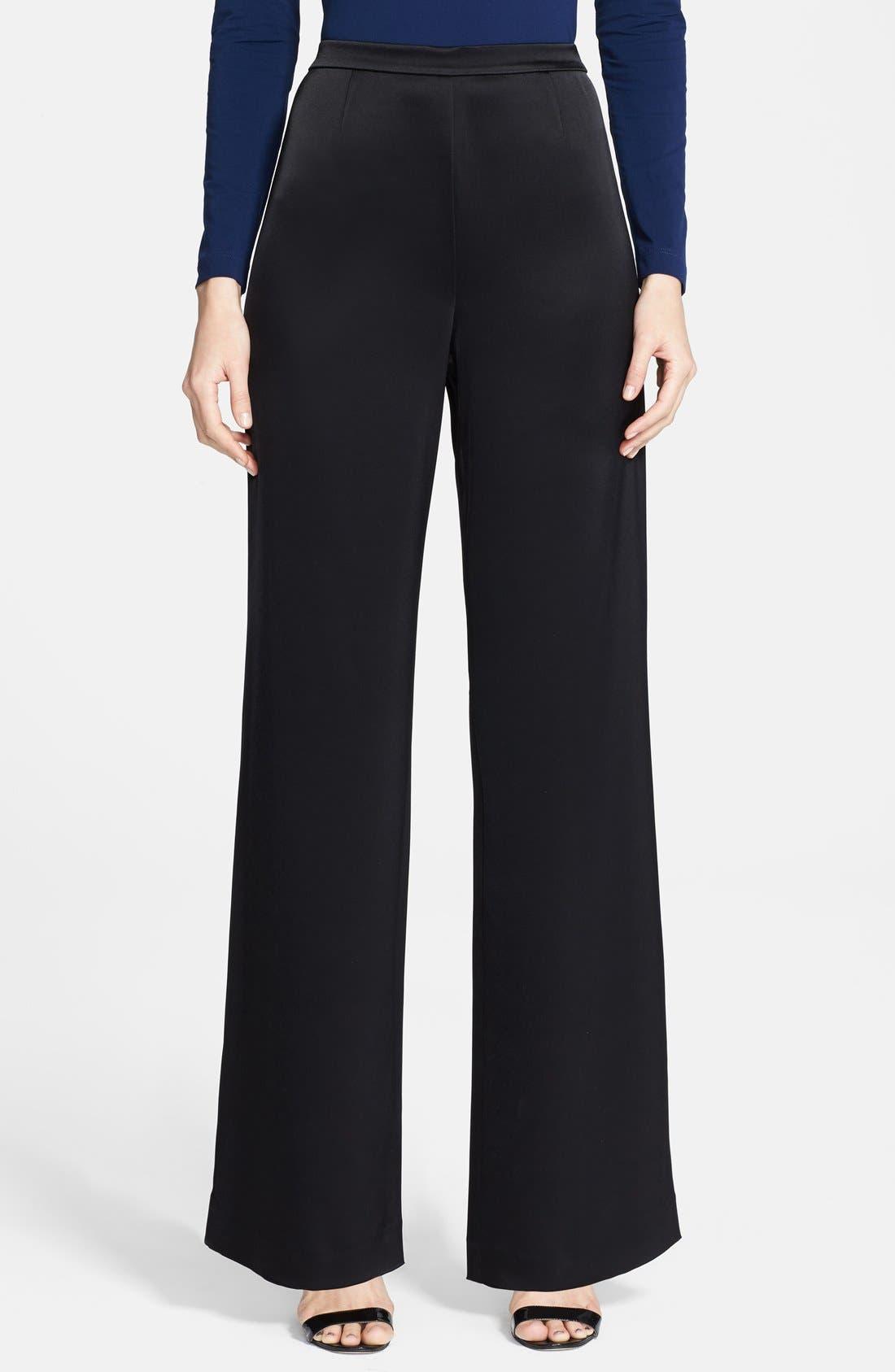 'Kate' Liquid Satin Pants,                         Main,                         color, CAVIAR