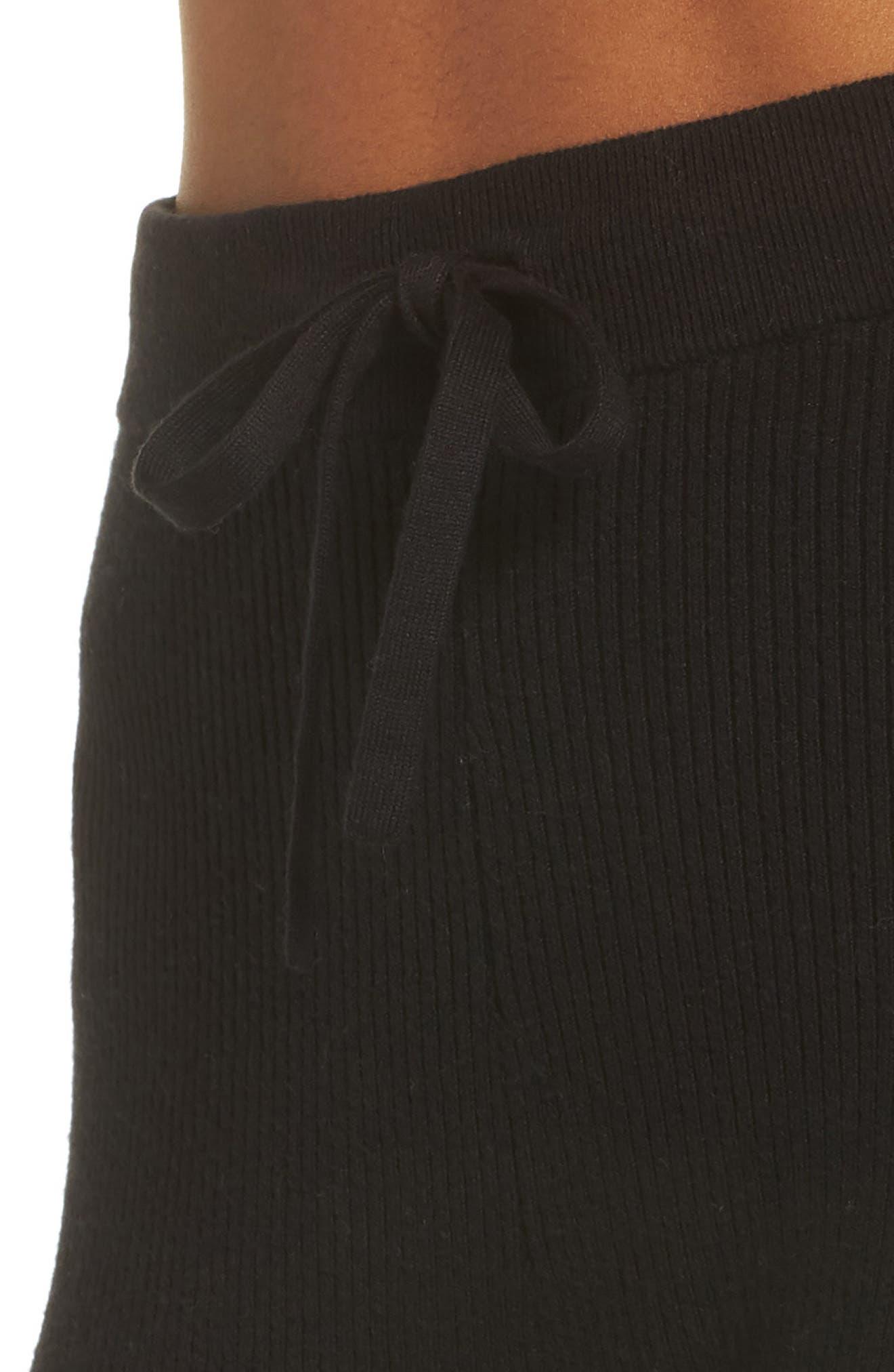 Ribbed Sweater Leggings,                             Alternate thumbnail 4, color,                             BLACK
