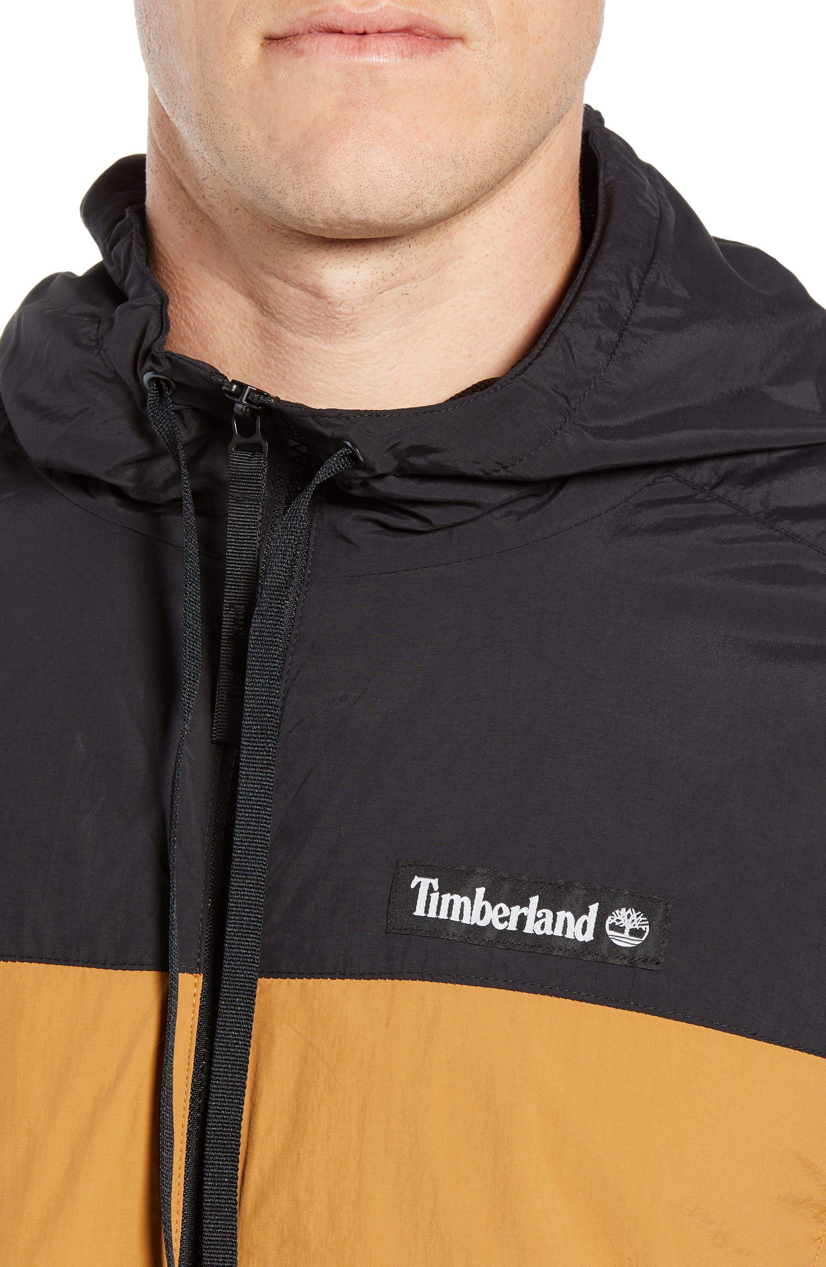 Windbreaker Hooded Jacket,                             Alternate thumbnail 4, color,                             WHEAT BOOT/ BLACK