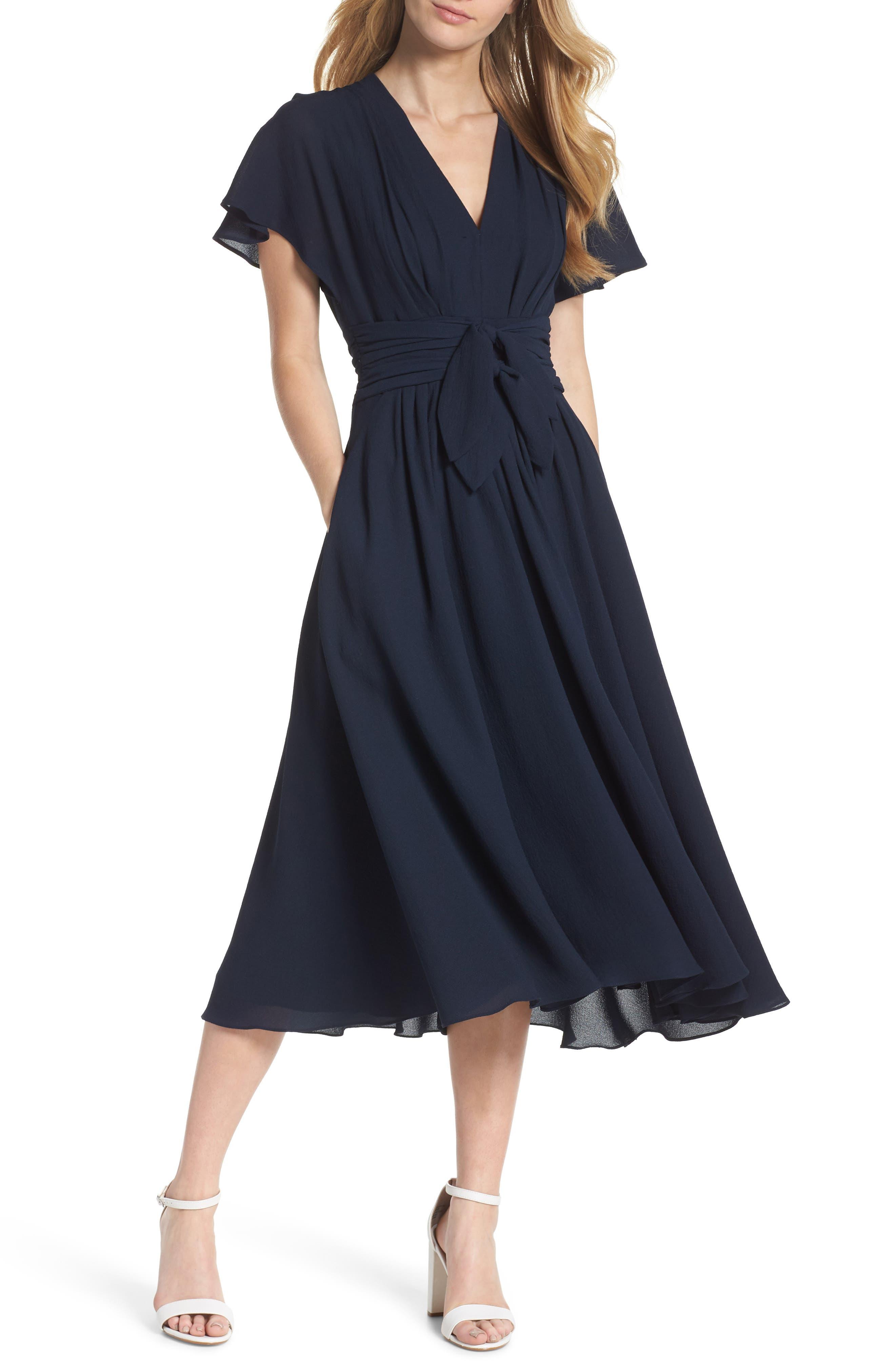 Gal Meets Glam Collection Jane Tie Waist Midi Dress, Blue