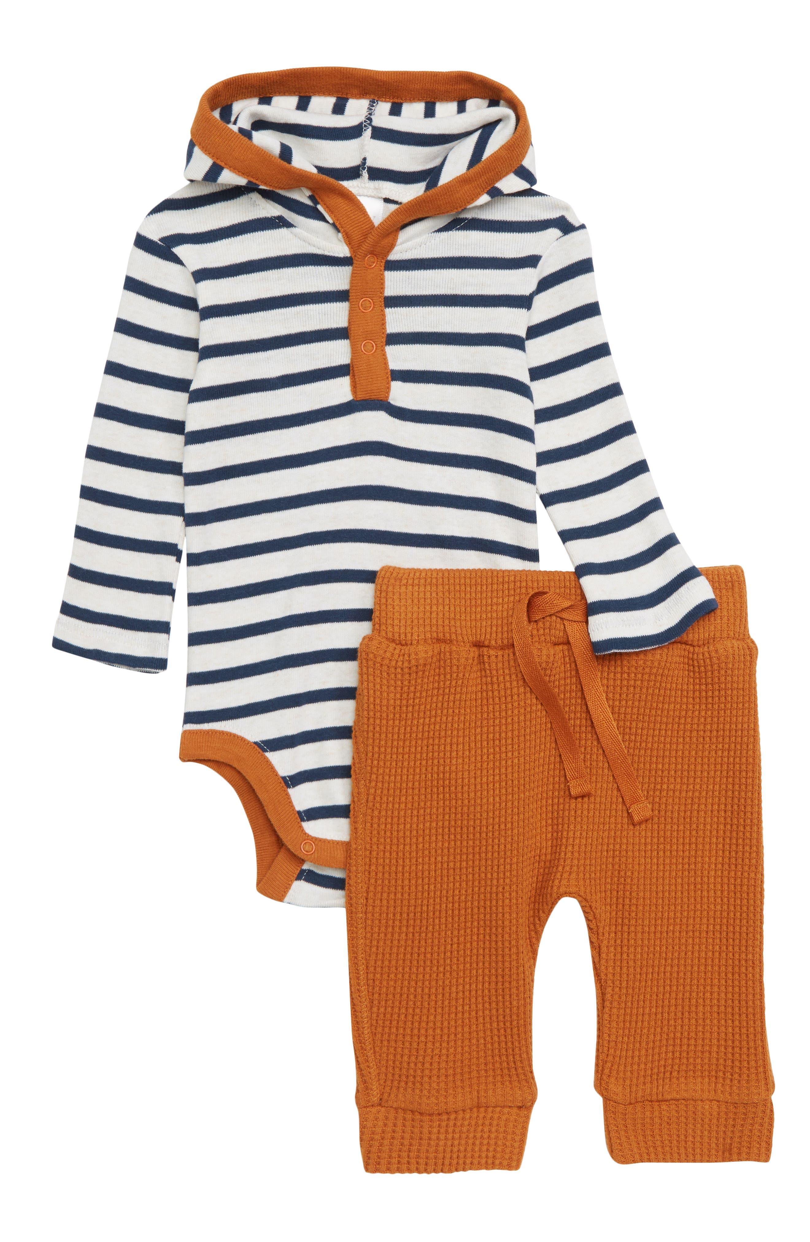 Stripe Hooded Bodysuit & Thermal Pants Set,                             Main thumbnail 1, color,                             900