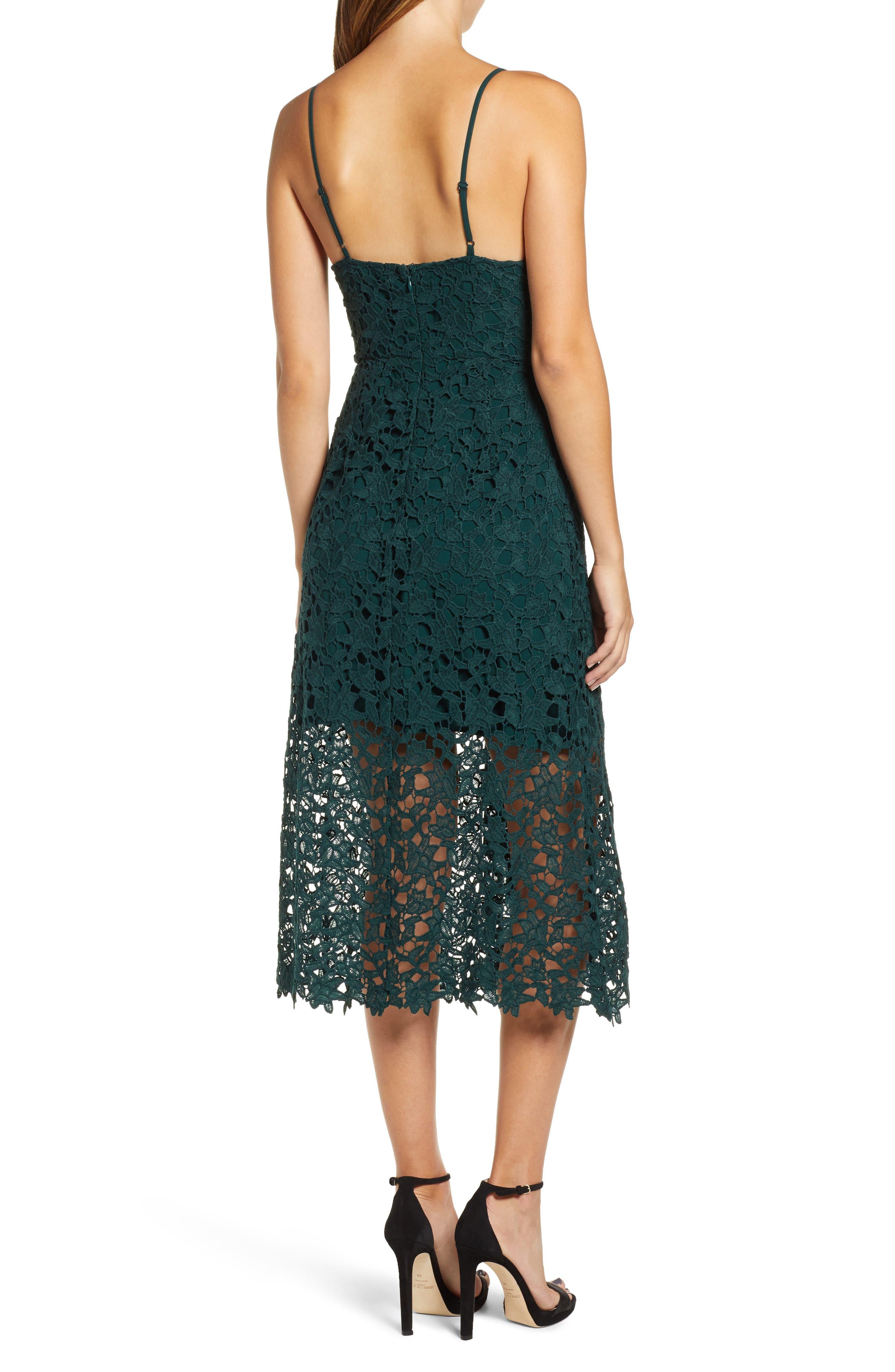 Lace Midi Dress,                             Alternate thumbnail 2, color,                             JADE GREEN