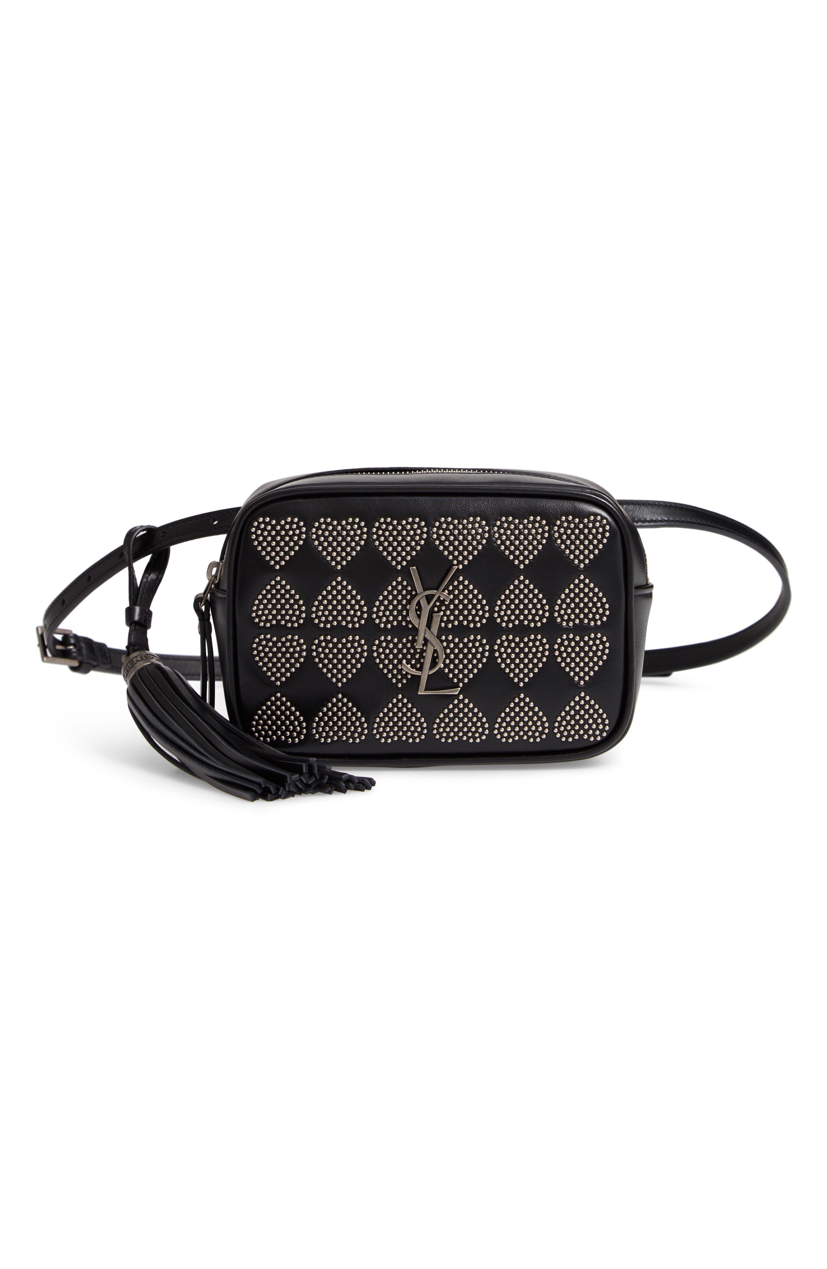 Micro Lou Stud Hearts Calfskin Leather Belt Bag,                             Main thumbnail 1, color,                             NOIR