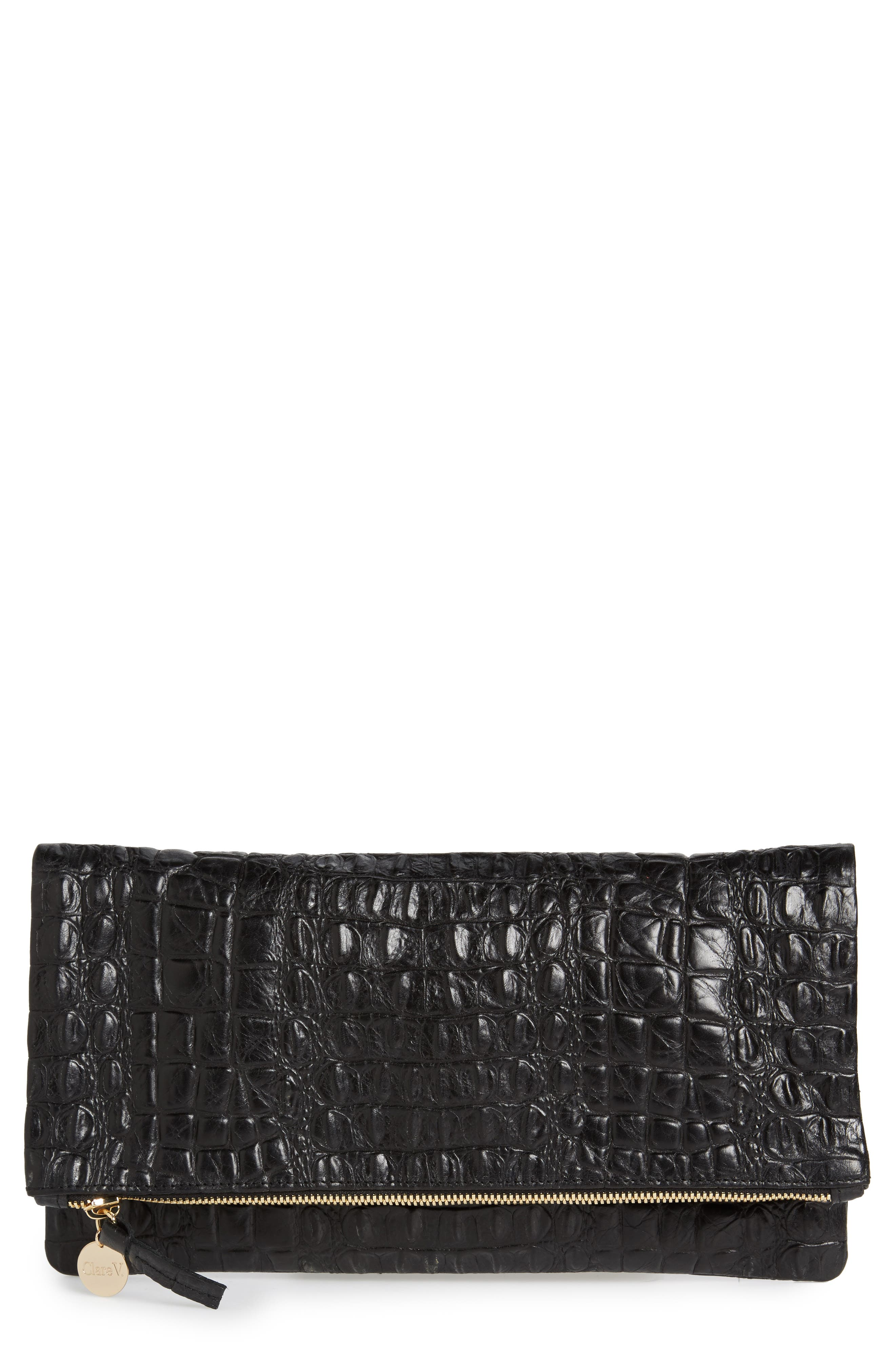 Croc Embossed Leather Foldover Clutch,                         Main,                         color, 001