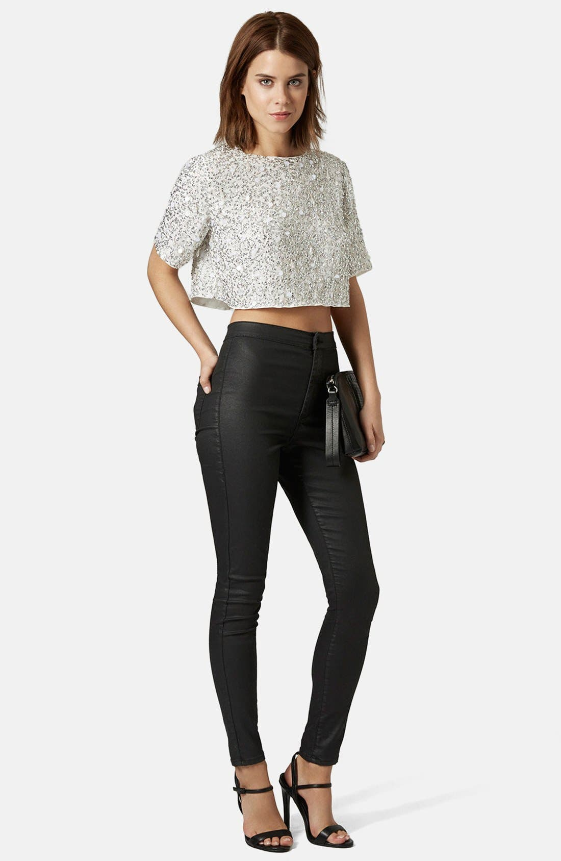 Sequin Crop Tee,                             Alternate thumbnail 4, color,                             100