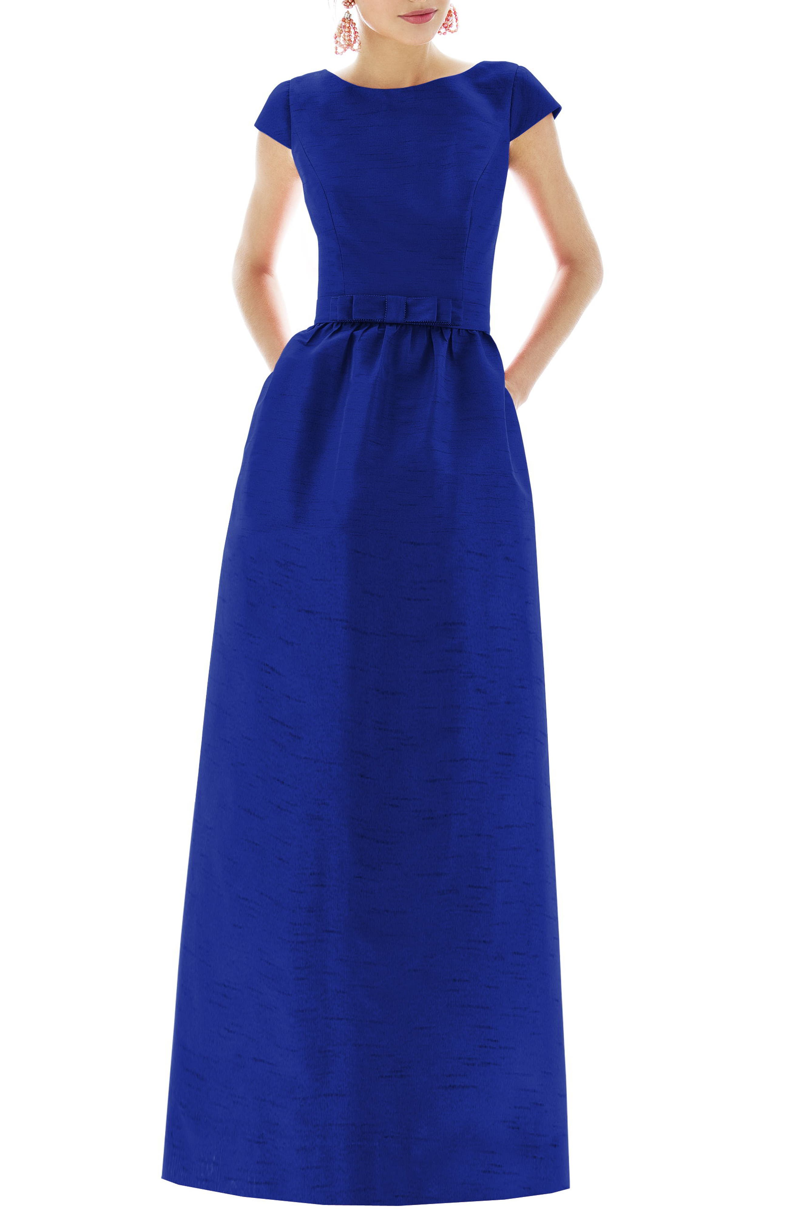 Cap Sleeve Dupioni Full Length Dress,                         Main,                         color, ROYAL