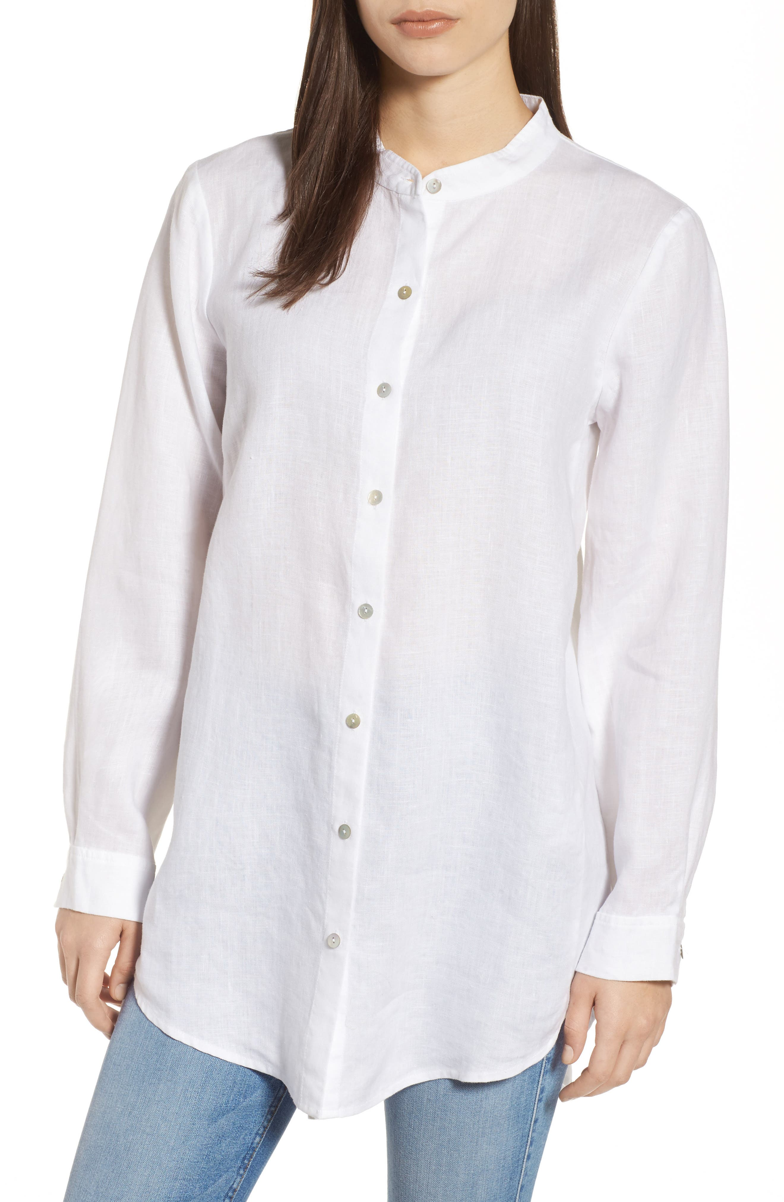 Organic Linen Tunic Shirt,                             Main thumbnail 1, color,                             100
