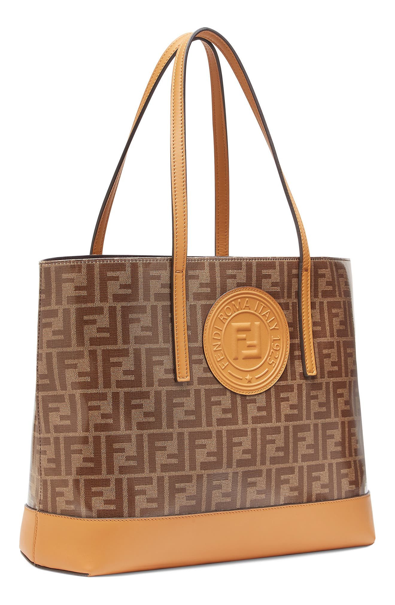 Vetrificato Logo Canvas Shopper,                             Alternate thumbnail 4, color,                             MOHOGANY/ CARAMEL