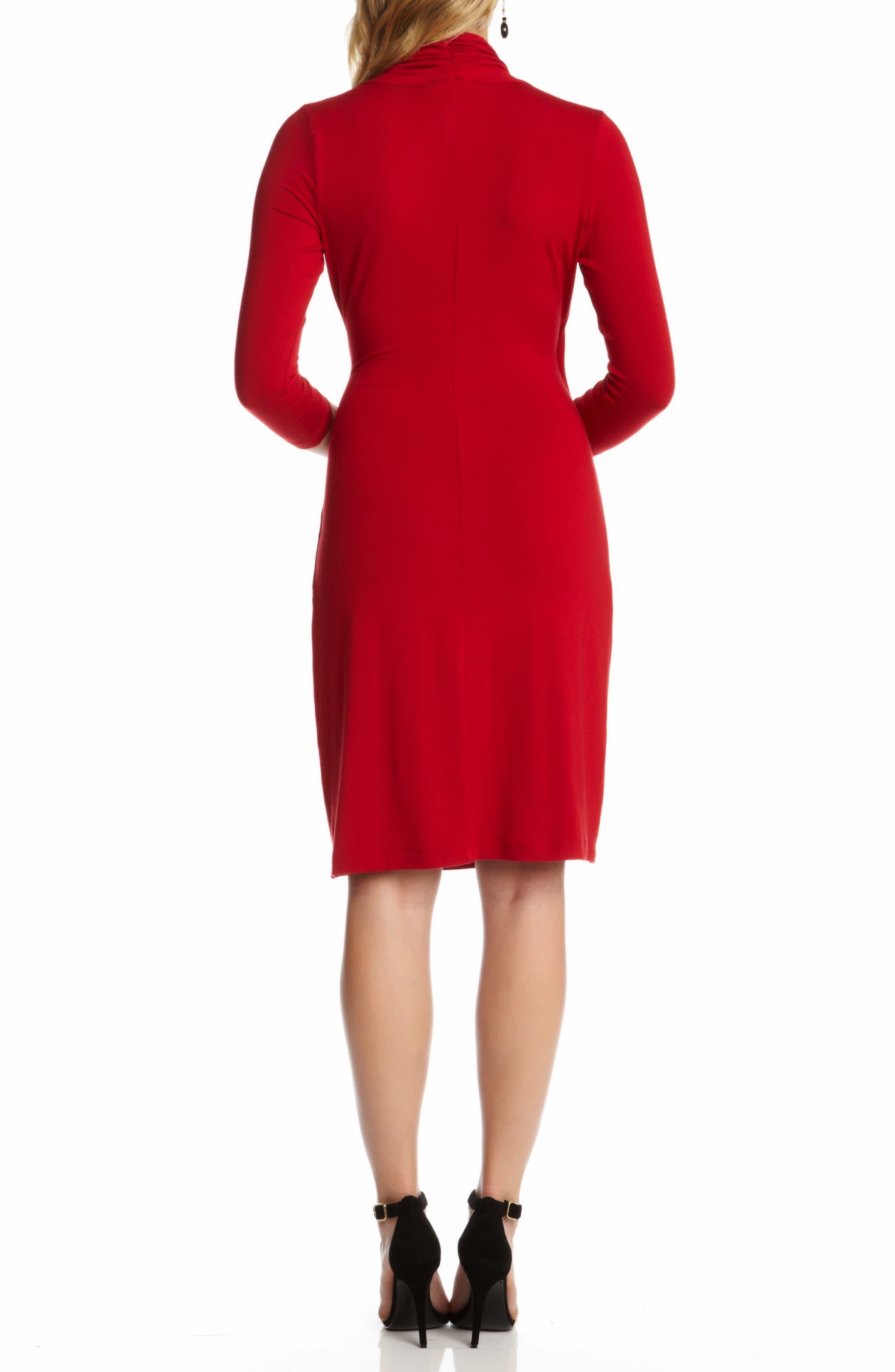 KAREN KANE,                             Cascade Faux Wrap Dress,                             Alternate thumbnail 2, color,                             RED