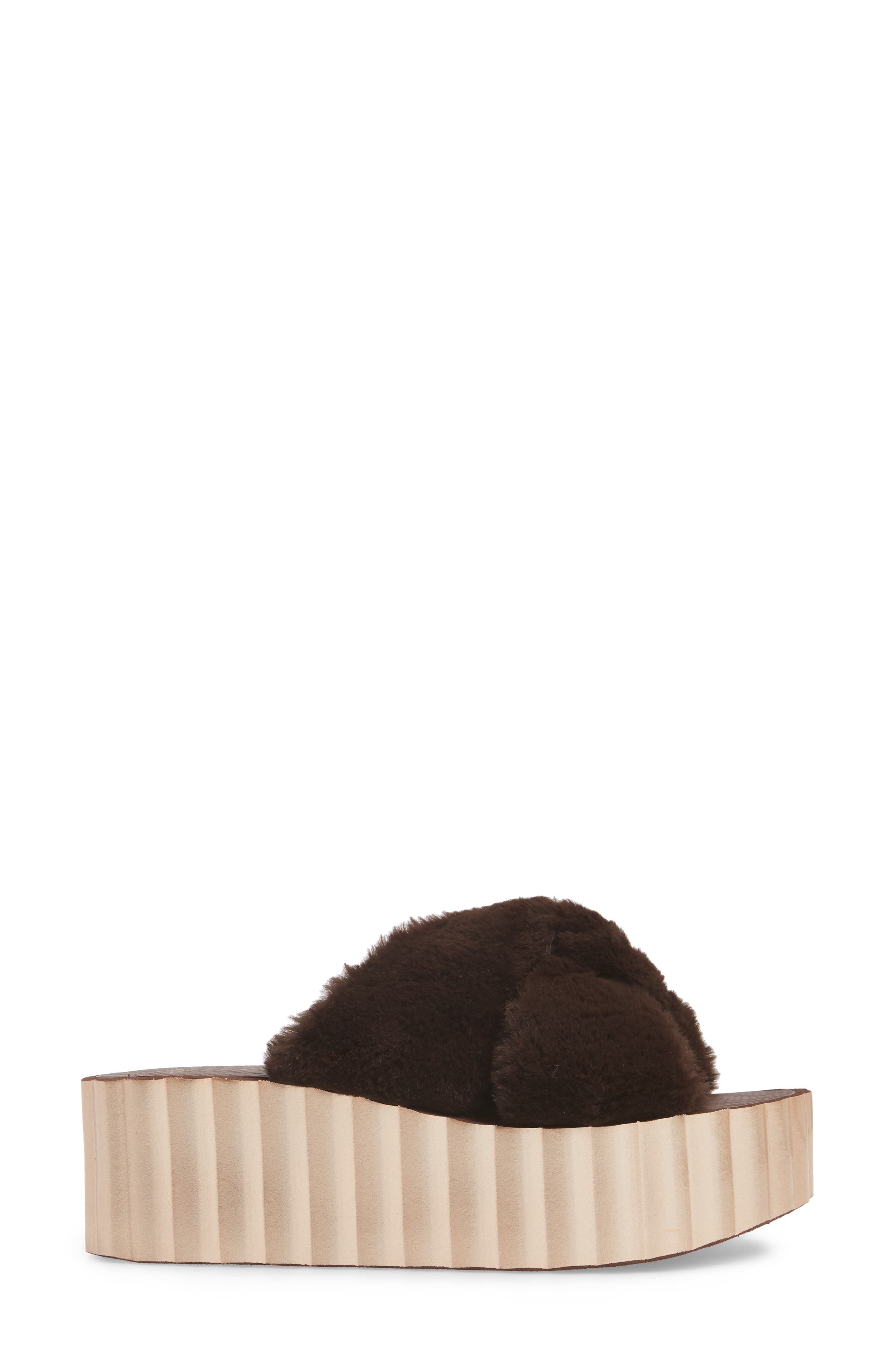 TORY BURCH,                             Faux Fur Scallop Platform Slide Sandal,                             Alternate thumbnail 3, color,                             207