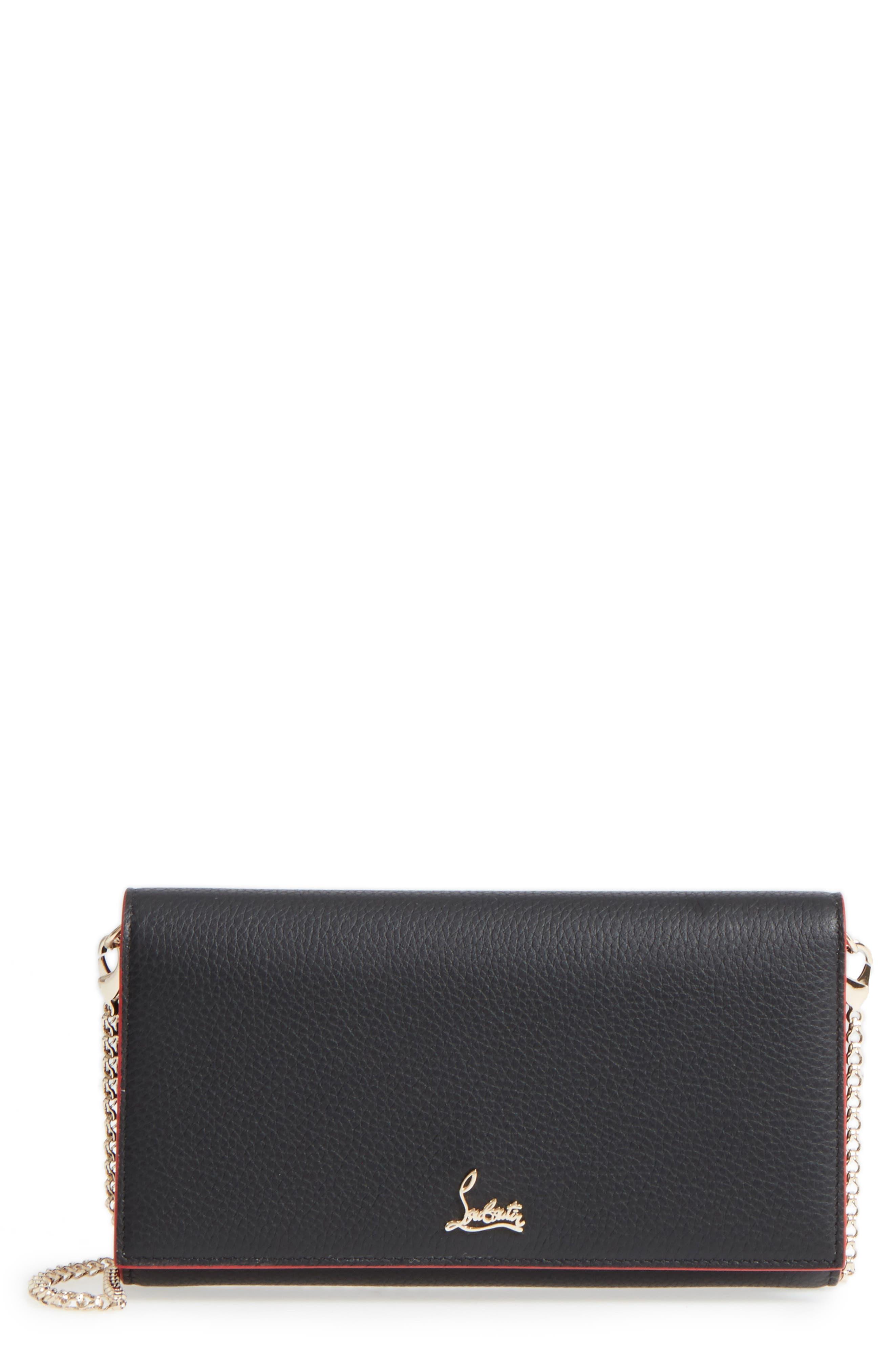 Boudoir Calfskin Leather Wallet,                         Main,                         color, BLACK/ GOLD
