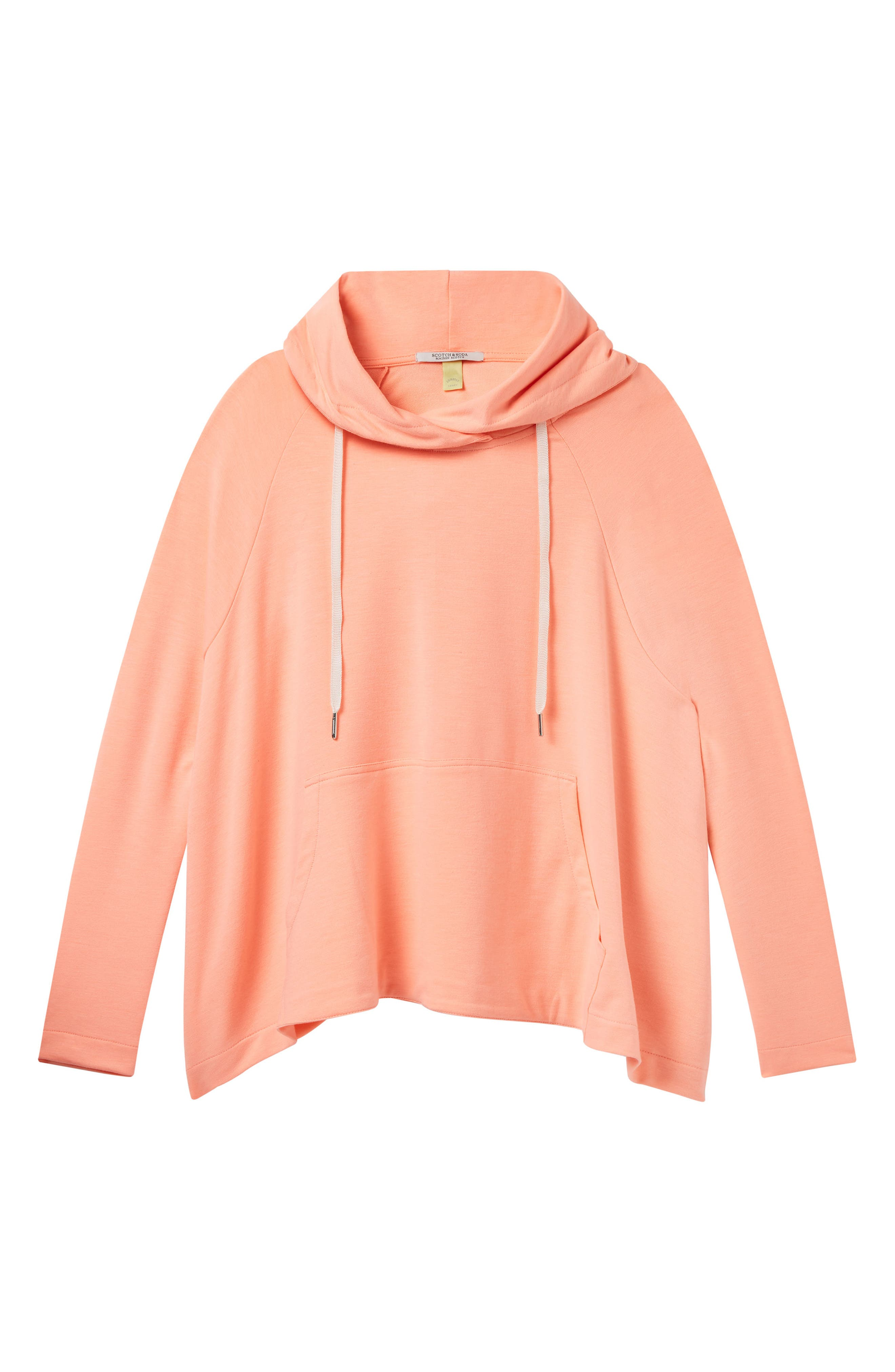 Boxy Fit Hoodie,                             Alternate thumbnail 5, color,                             COLOR 2015 CORAL