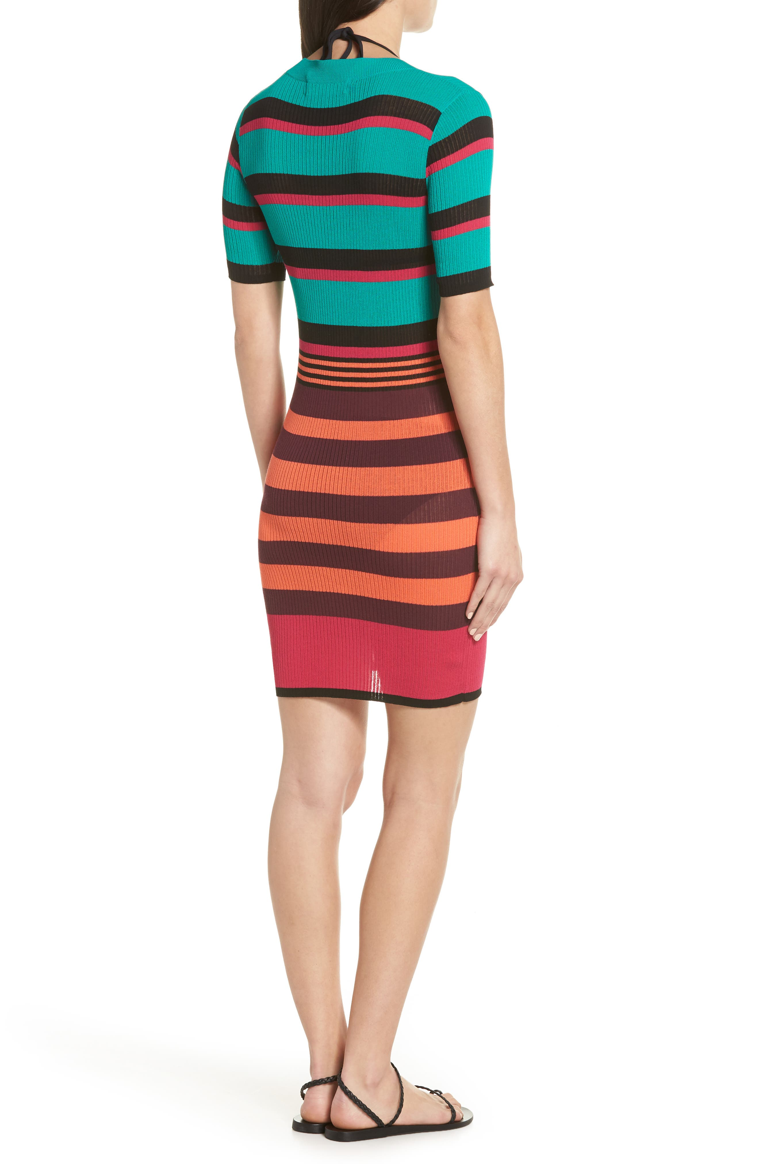 DVF Stripe Ribbed Cover-Up Sweater Dress,                             Alternate thumbnail 2, color,                             BRIGHT BLUE