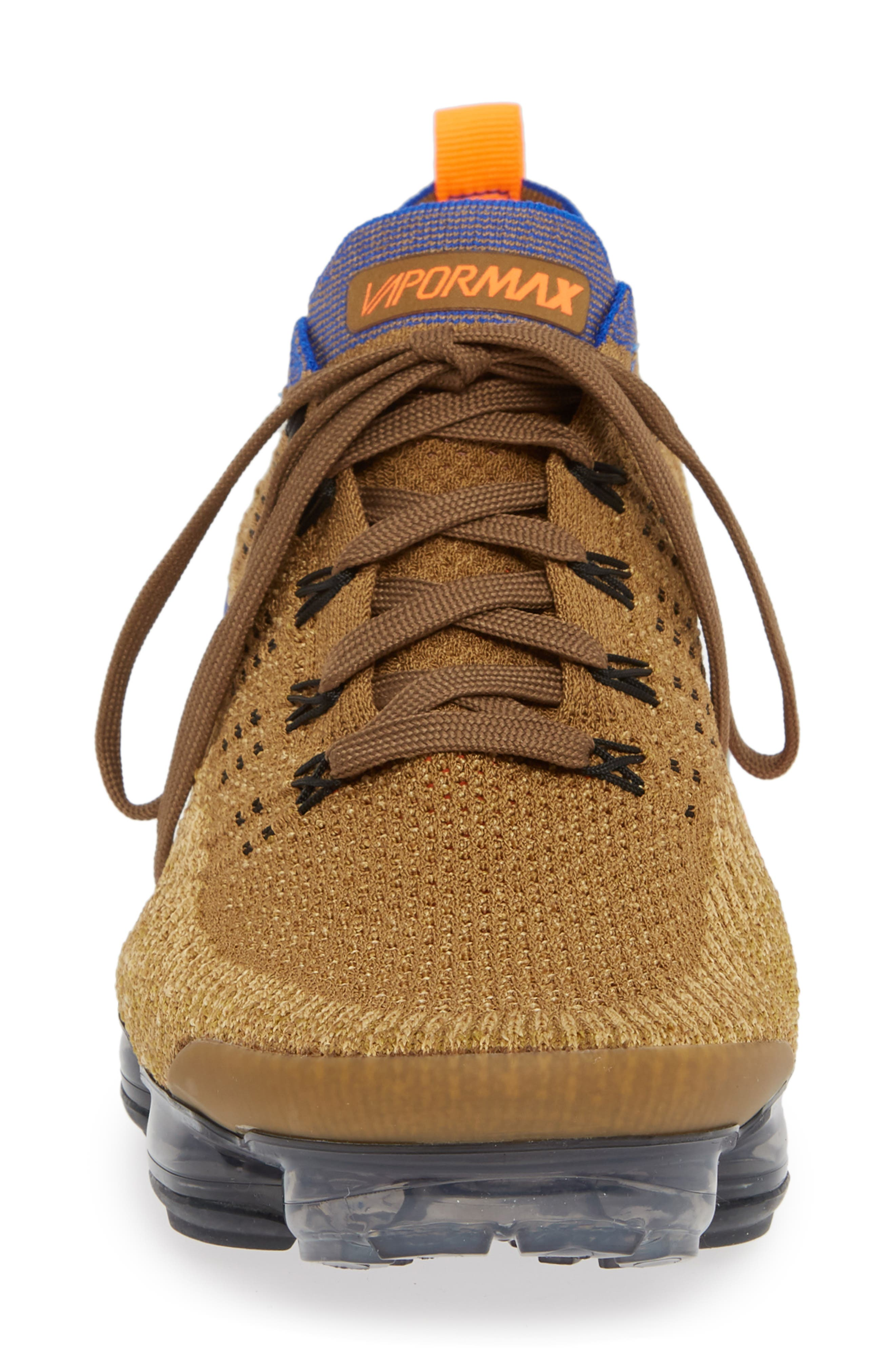 Air Vapormax Flyknit 2 Running Shoe,                             Alternate thumbnail 4, color,                             GOLDEN BEIGE/ RACER BLUE/ GOLD