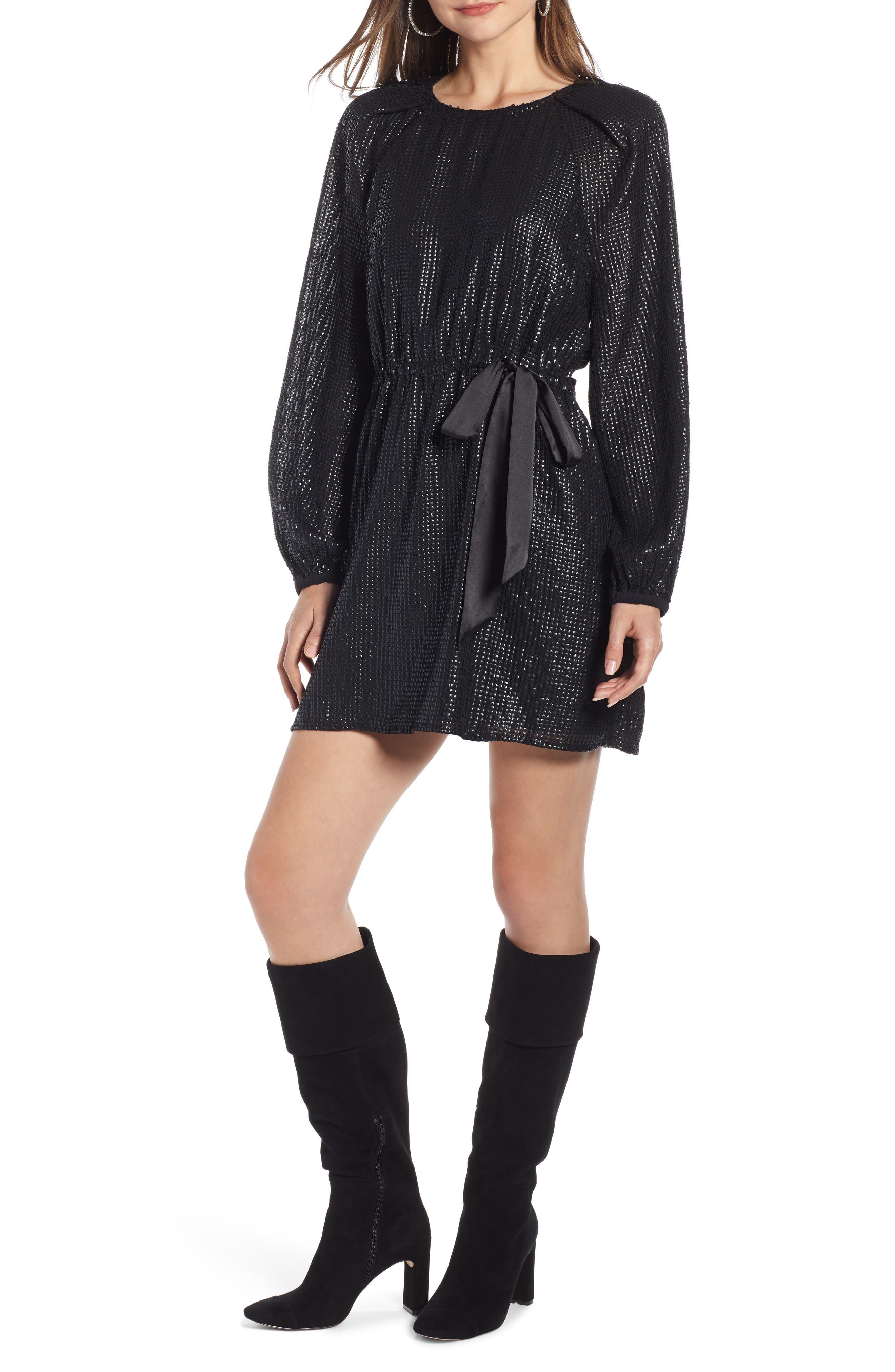 Sequin Raglan Minidress,                         Main,                         color, BLACK