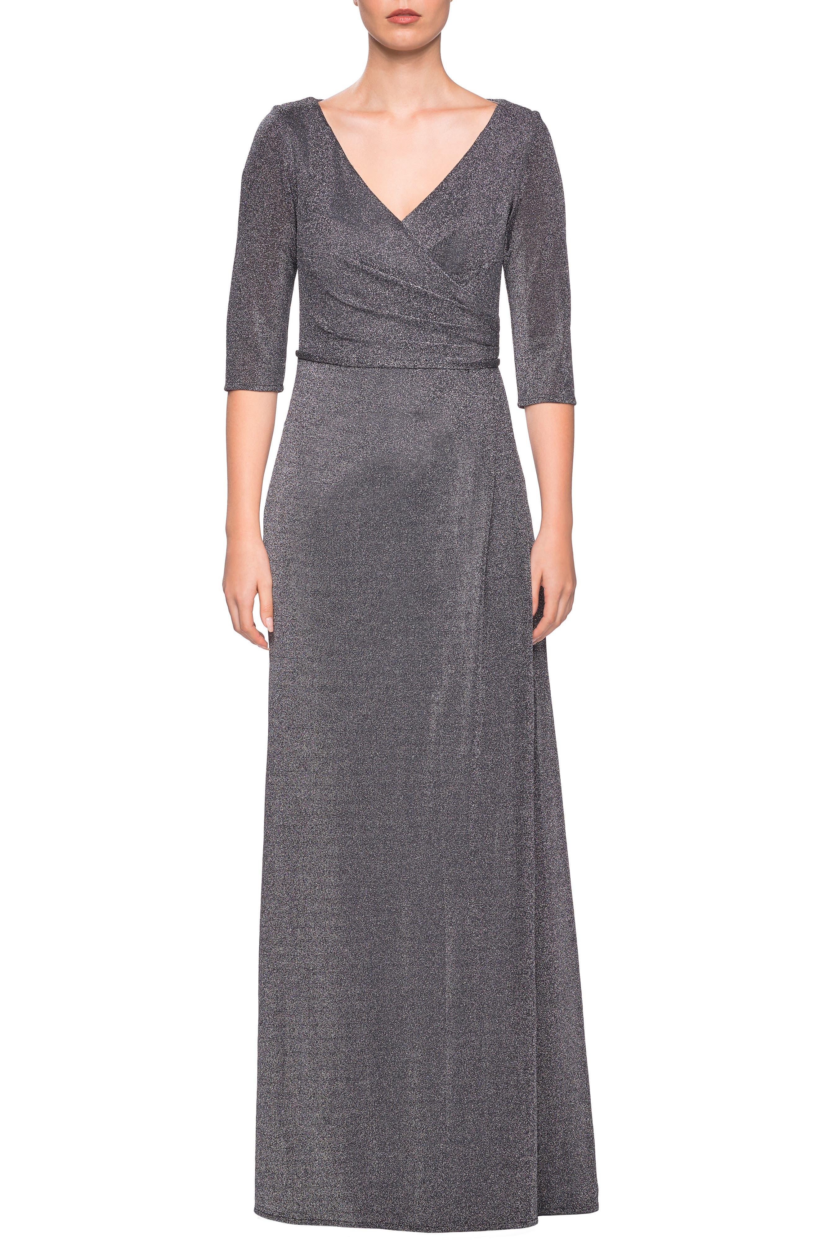 La Femme Sparkle Column Gown, Grey