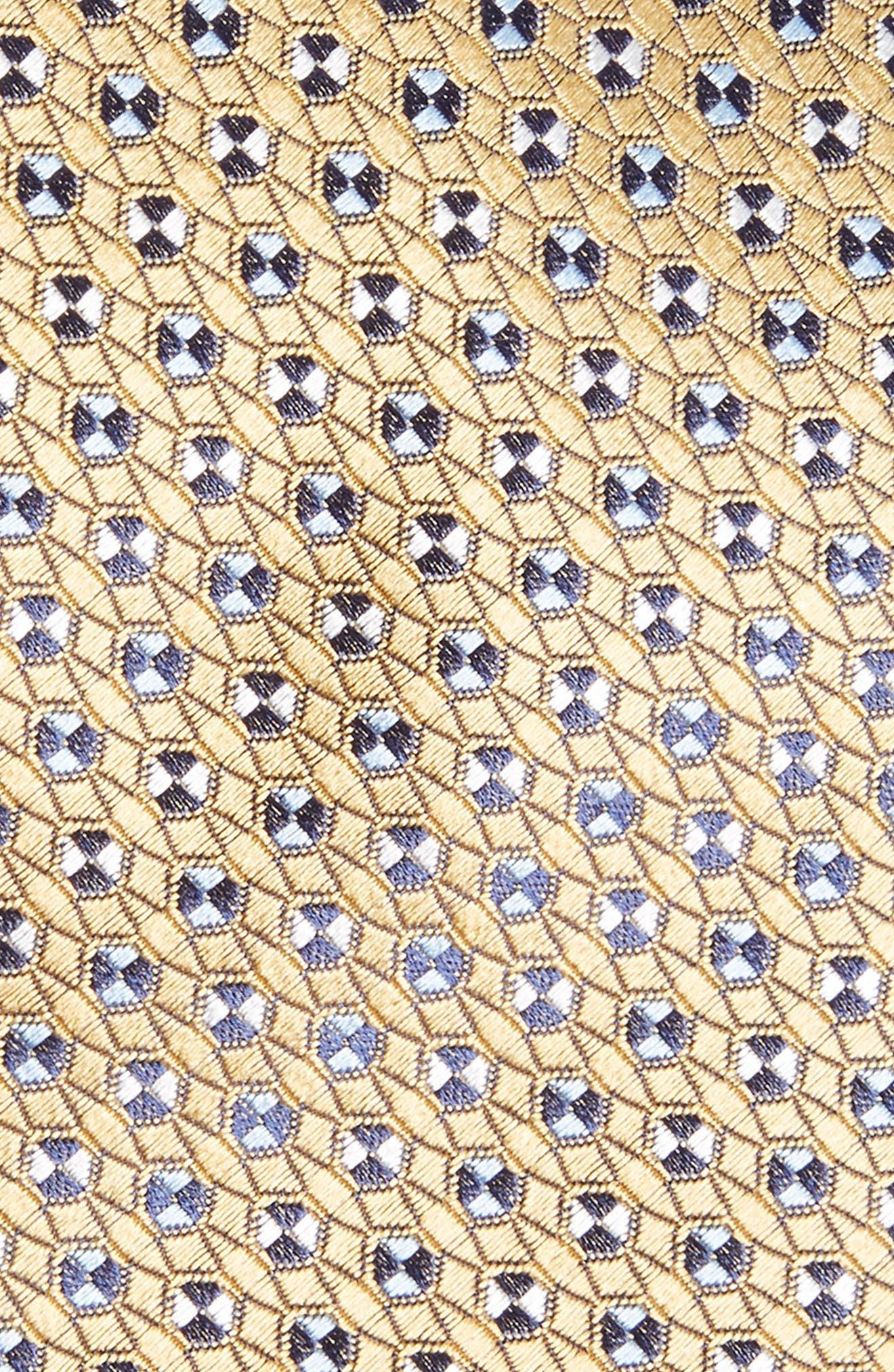 Geometric Silk Tie,                             Alternate thumbnail 2, color,                             YELLOW