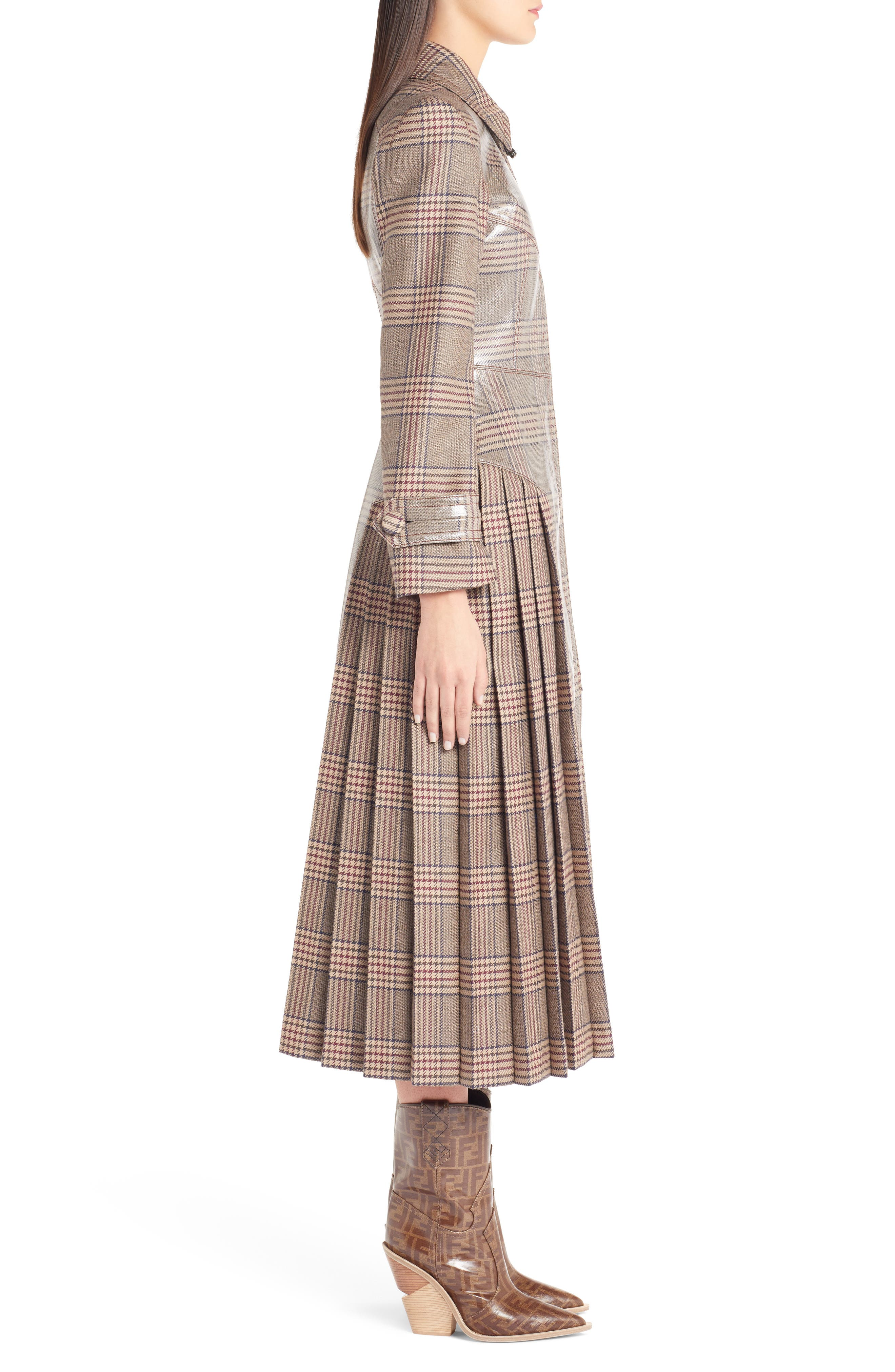 Checked Glazed Wool Trench Coat,                             Alternate thumbnail 3, color,                             024