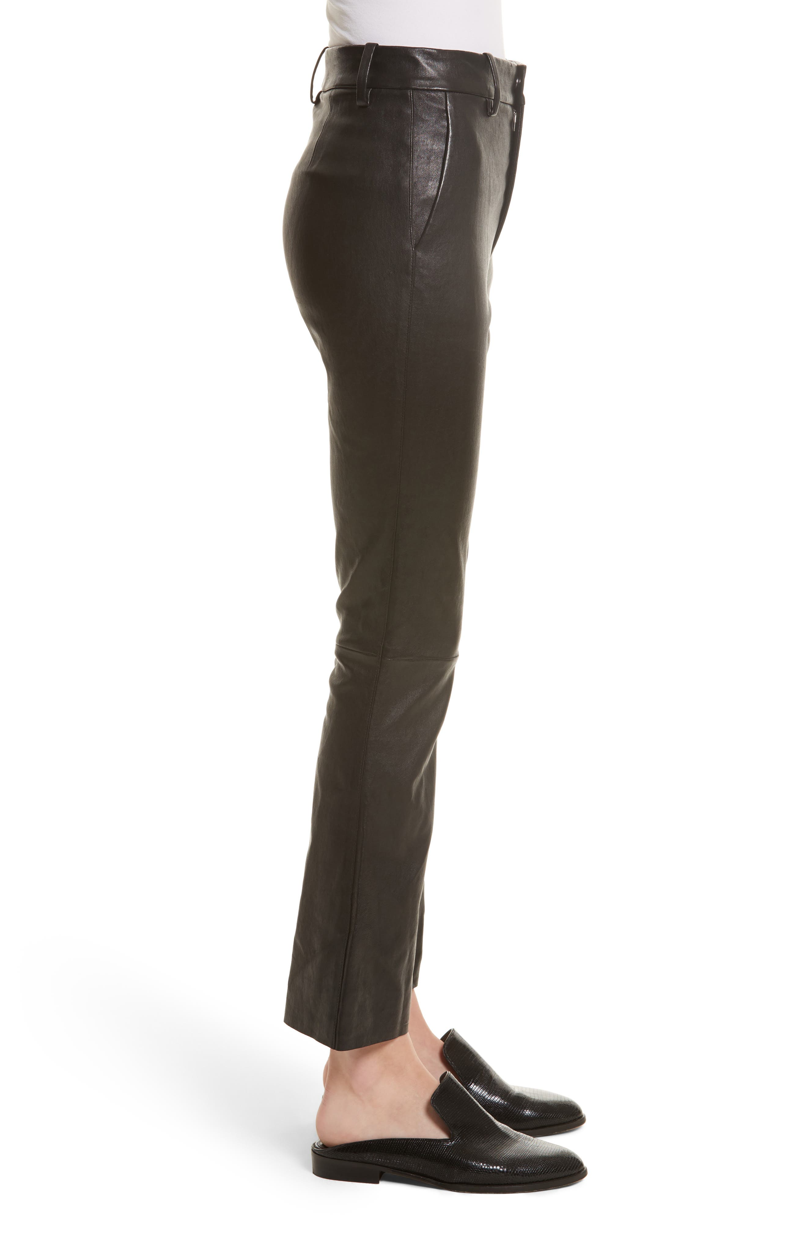 Stretch Leather Flare Pants,                             Alternate thumbnail 3, color,                             001
