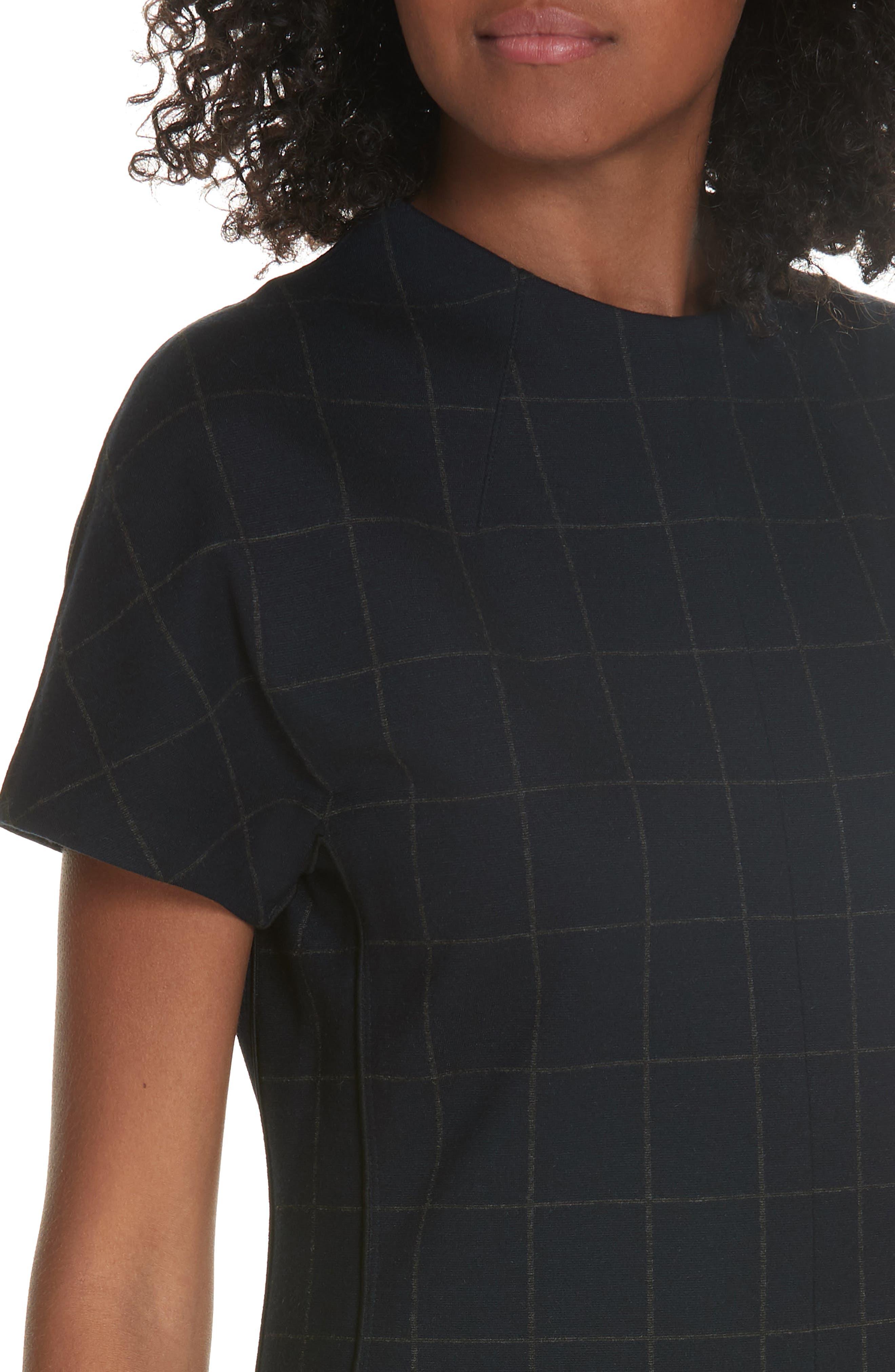 Windowpane Knit A-Line Dress,                             Alternate thumbnail 4, color,                             DEEP NAVY/ CHARCOAL MELANGE