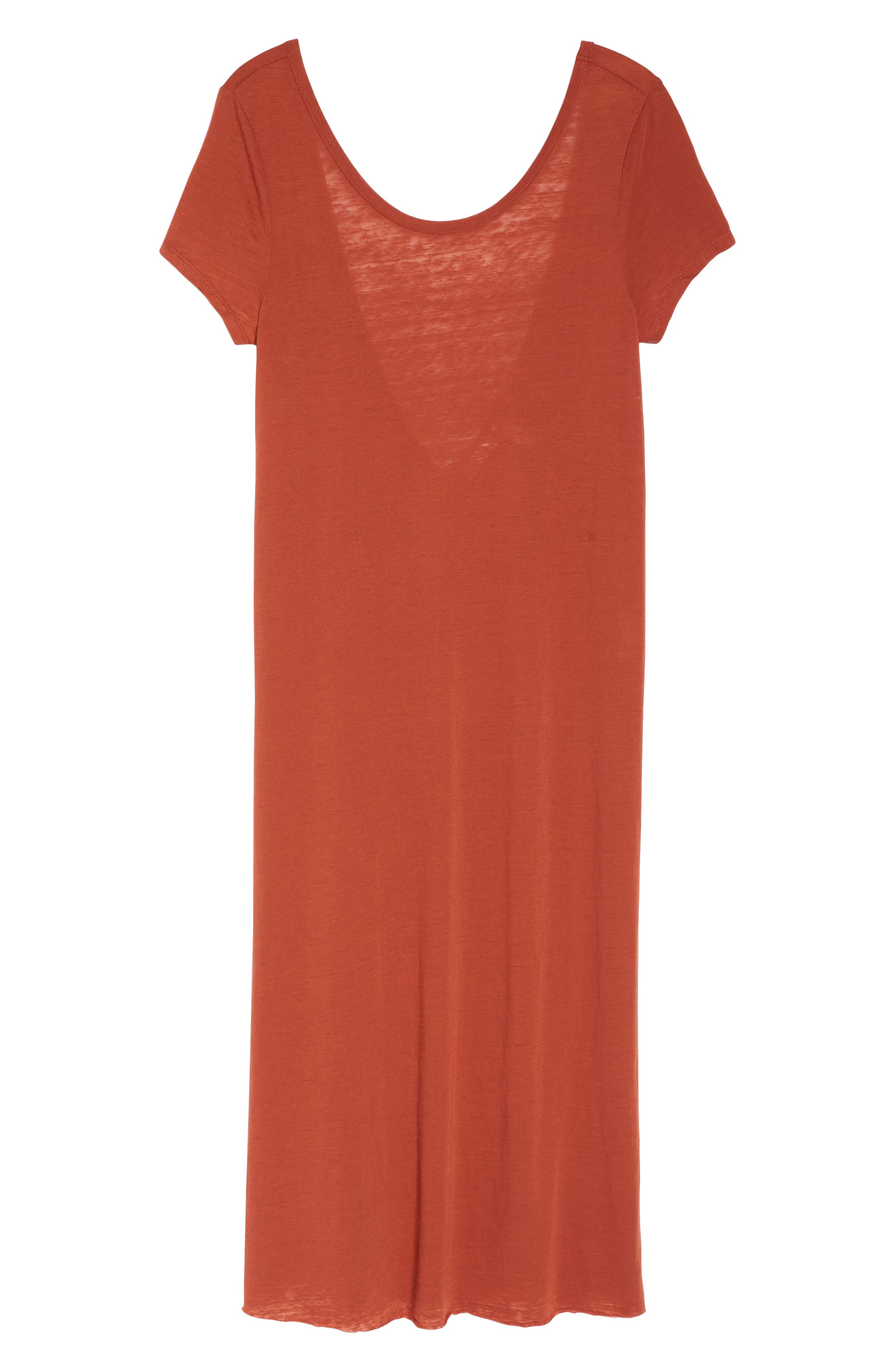 Easy Tee Burnout Cover-Up Dress,                             Alternate thumbnail 6, color,                             RUST PICANTE