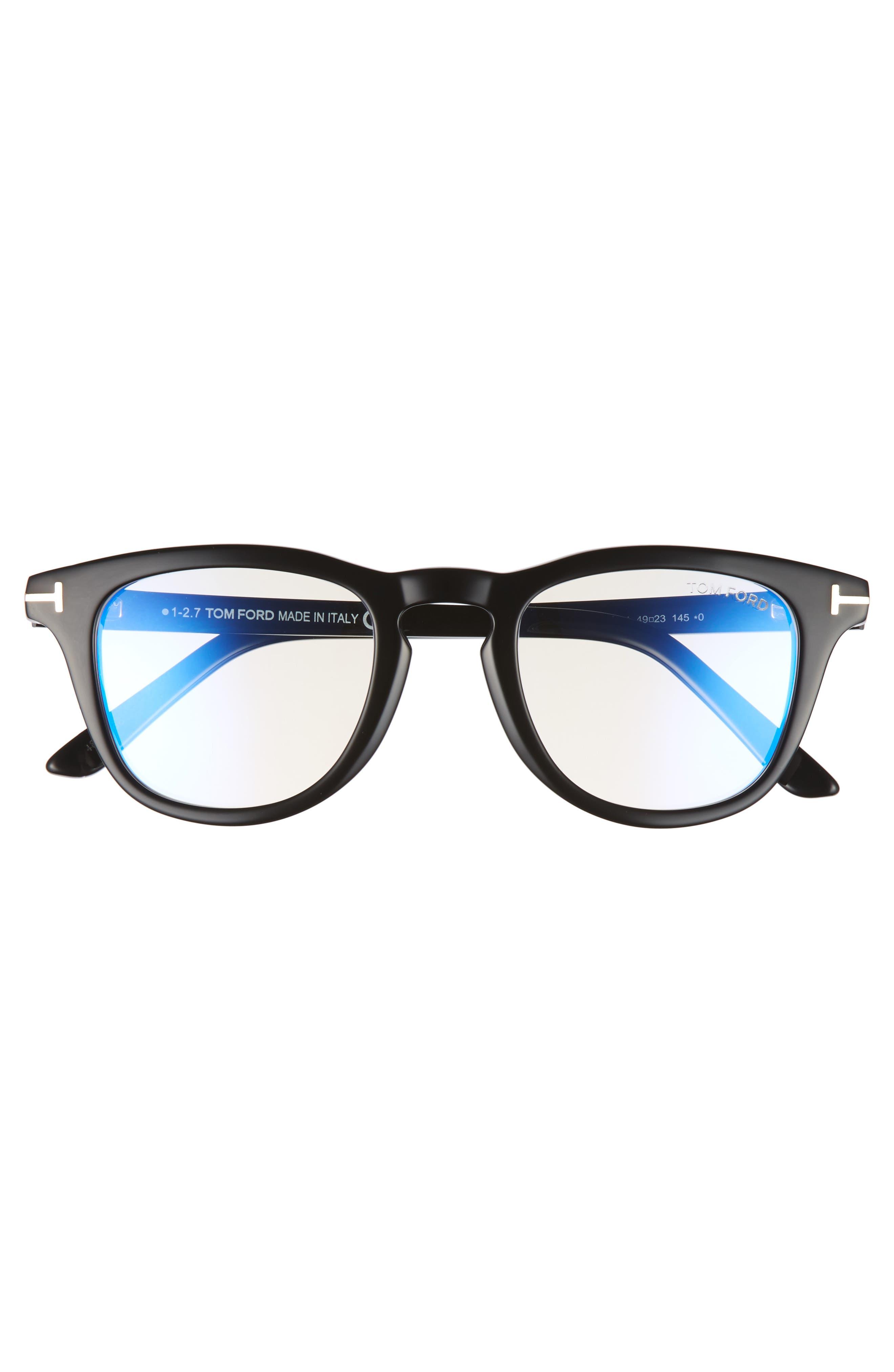 49mm Blue Block Optical Glasses,                             Alternate thumbnail 3, color,                             SHINY BLACK/ BLUE