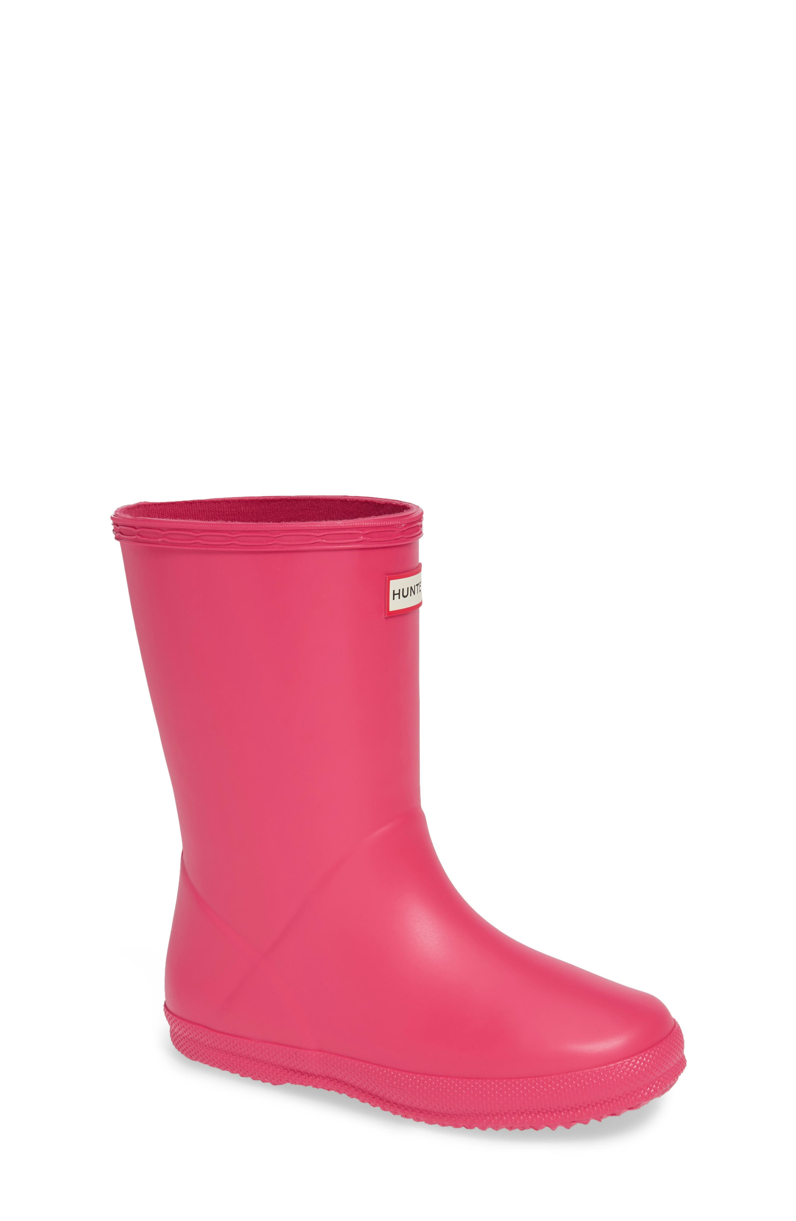 First Classic Waterproof Rain Boot,                             Main thumbnail 1, color,                             BRIGHT PINK