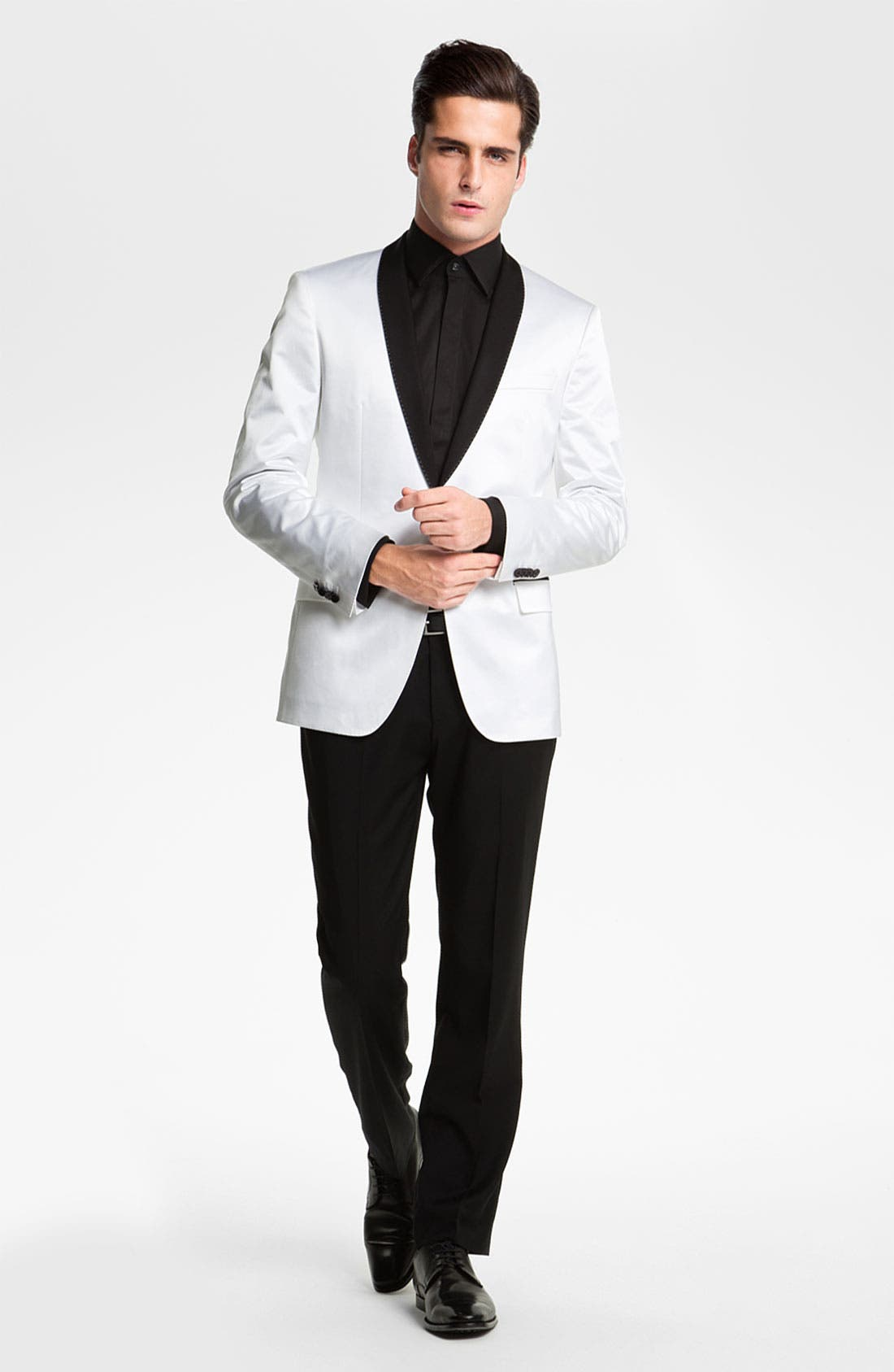 'Marlyn' Sharp Fit Stripe French Cuff Tuxedo Shirt,                             Alternate thumbnail 5, color,