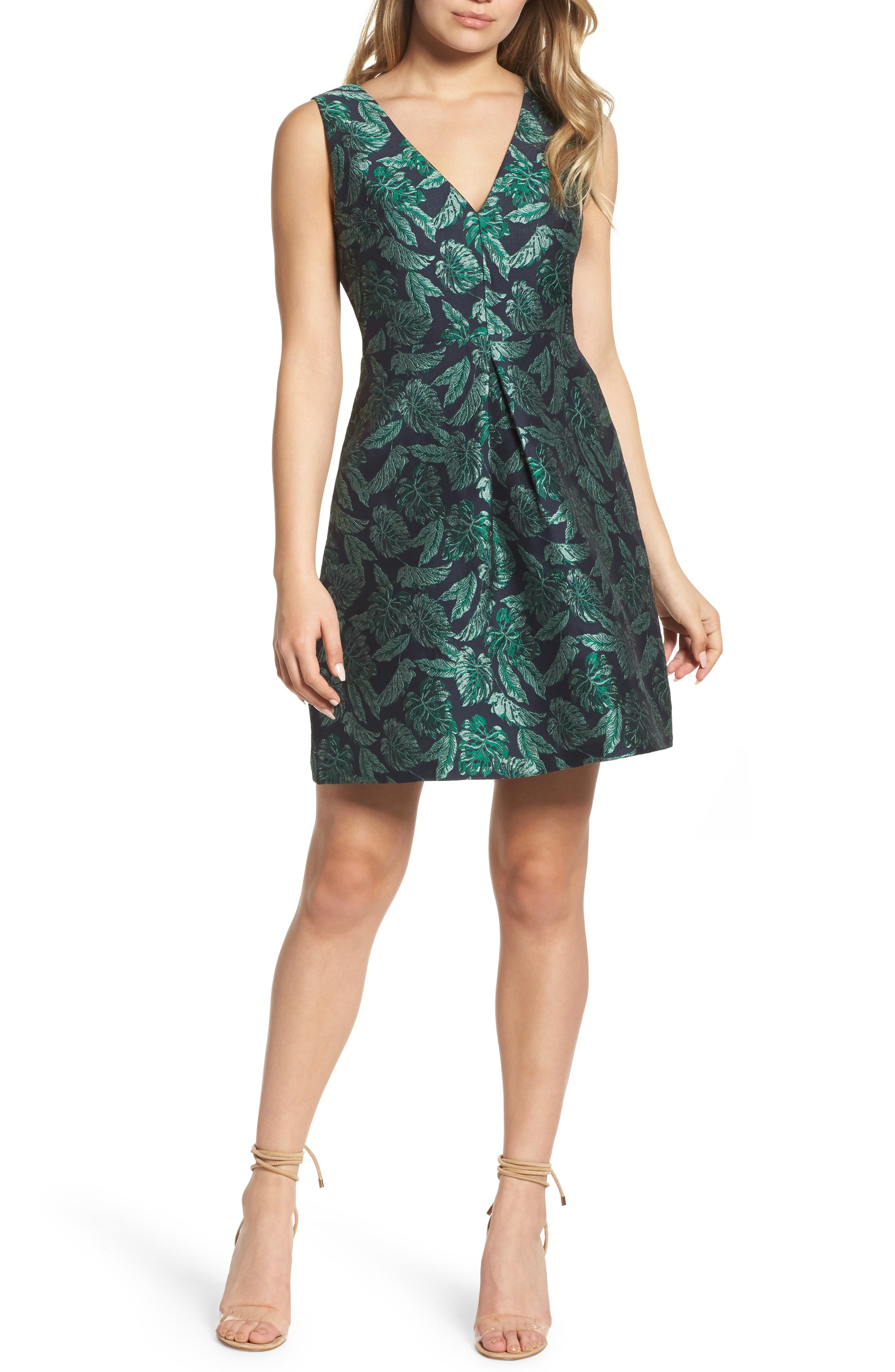 Palm Jacquard A-Line Dress,                             Main thumbnail 1, color,                             BLUE/ GREEN