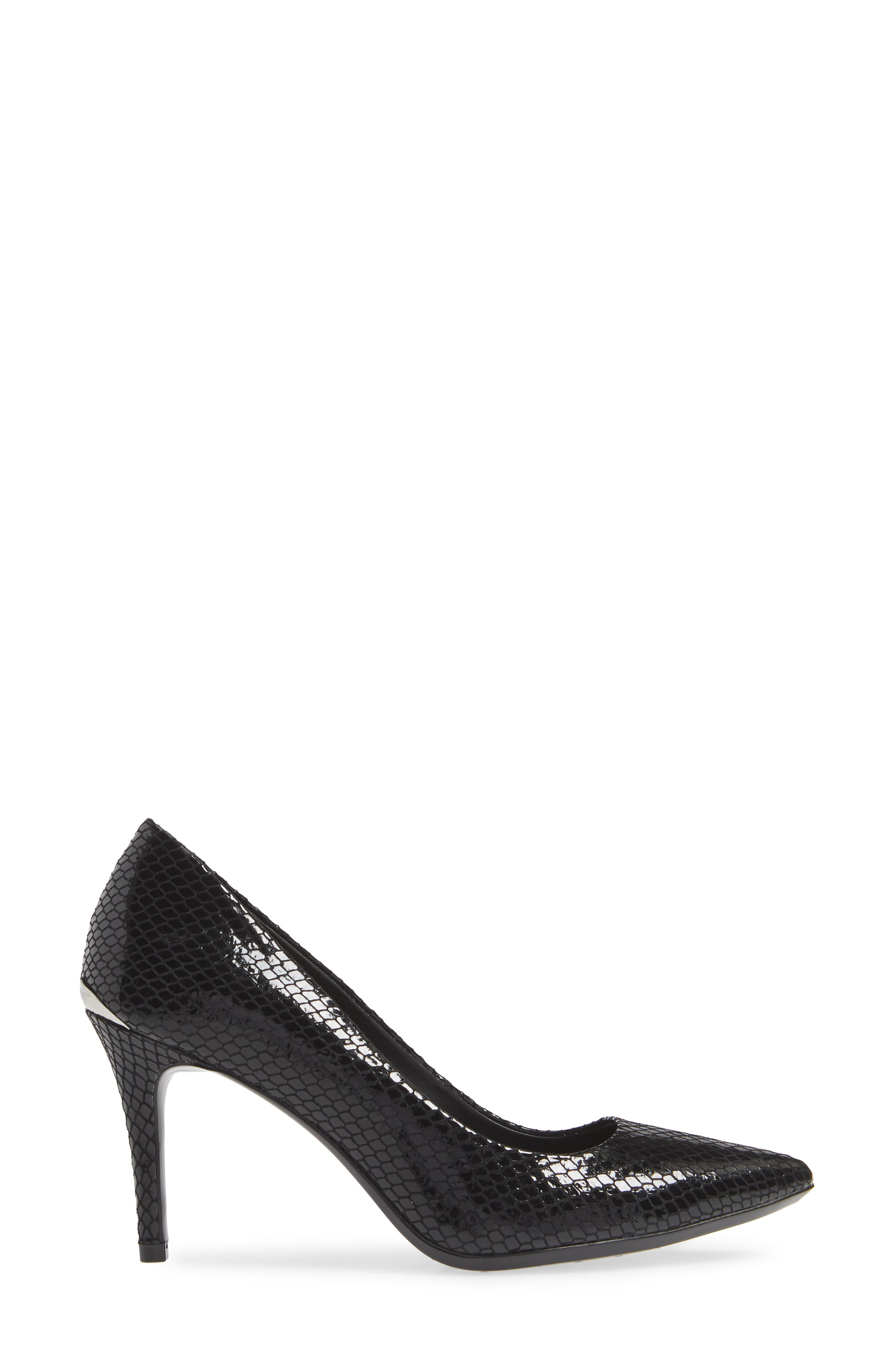 CALVIN KLEIN,                             'Gayle' Pointy Toe Pump,                             Alternate thumbnail 3, color,                             BLACK SNAKE PRINT LEATHER