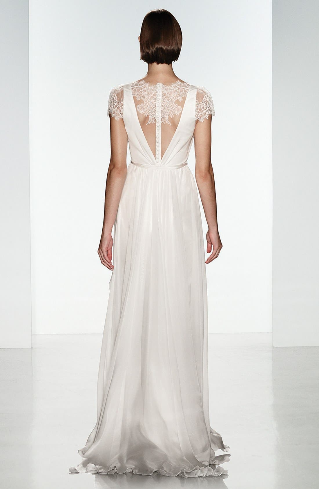 Lainee Silk Chiffon & Lace Cap Sleeve Gown,                             Alternate thumbnail 3, color,                             900