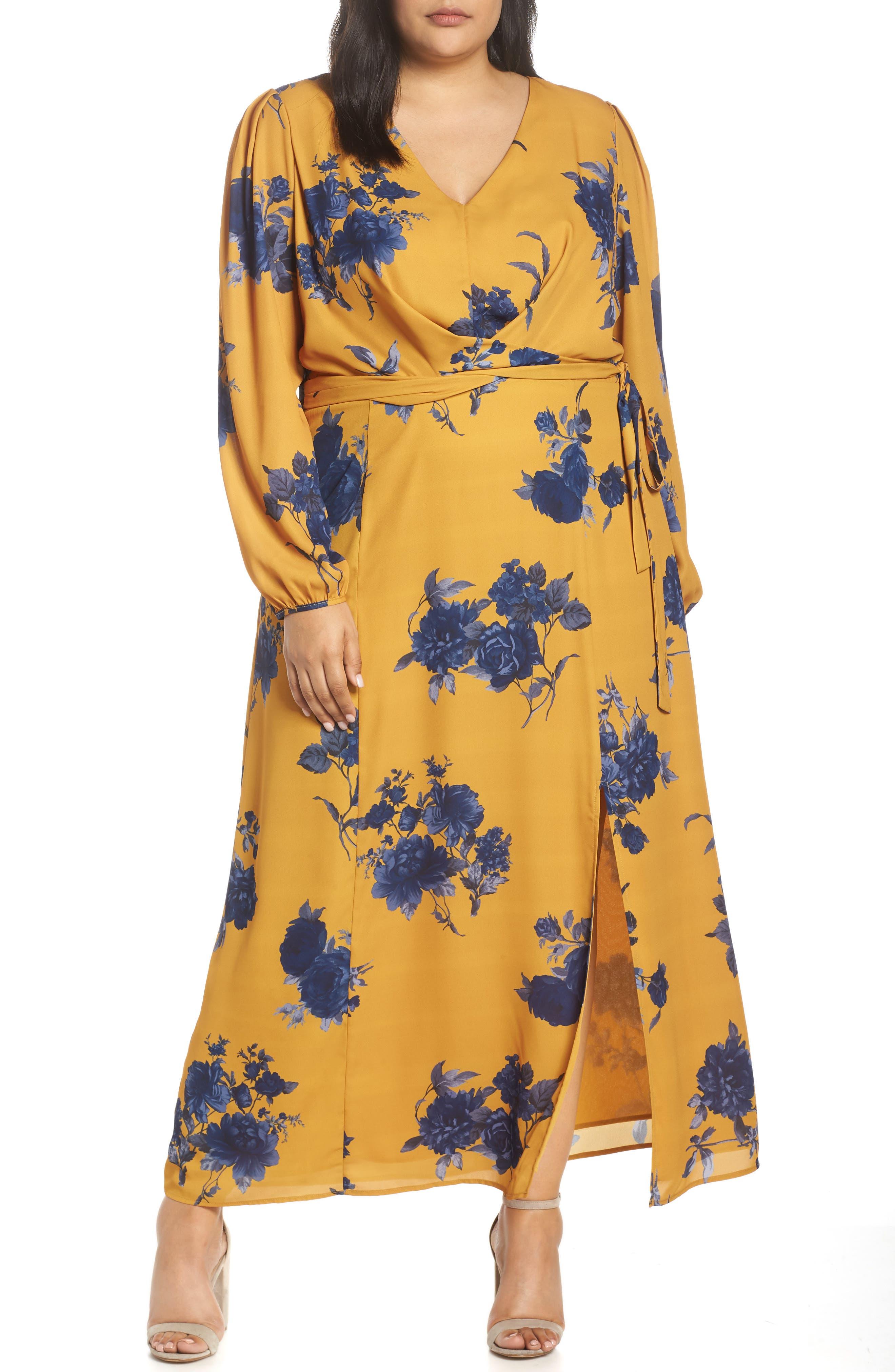 CHELSEA28,                             Floral Print Faux Wrap Maxi Dress,                             Main thumbnail 1, color,                             YELLOW NAVY
