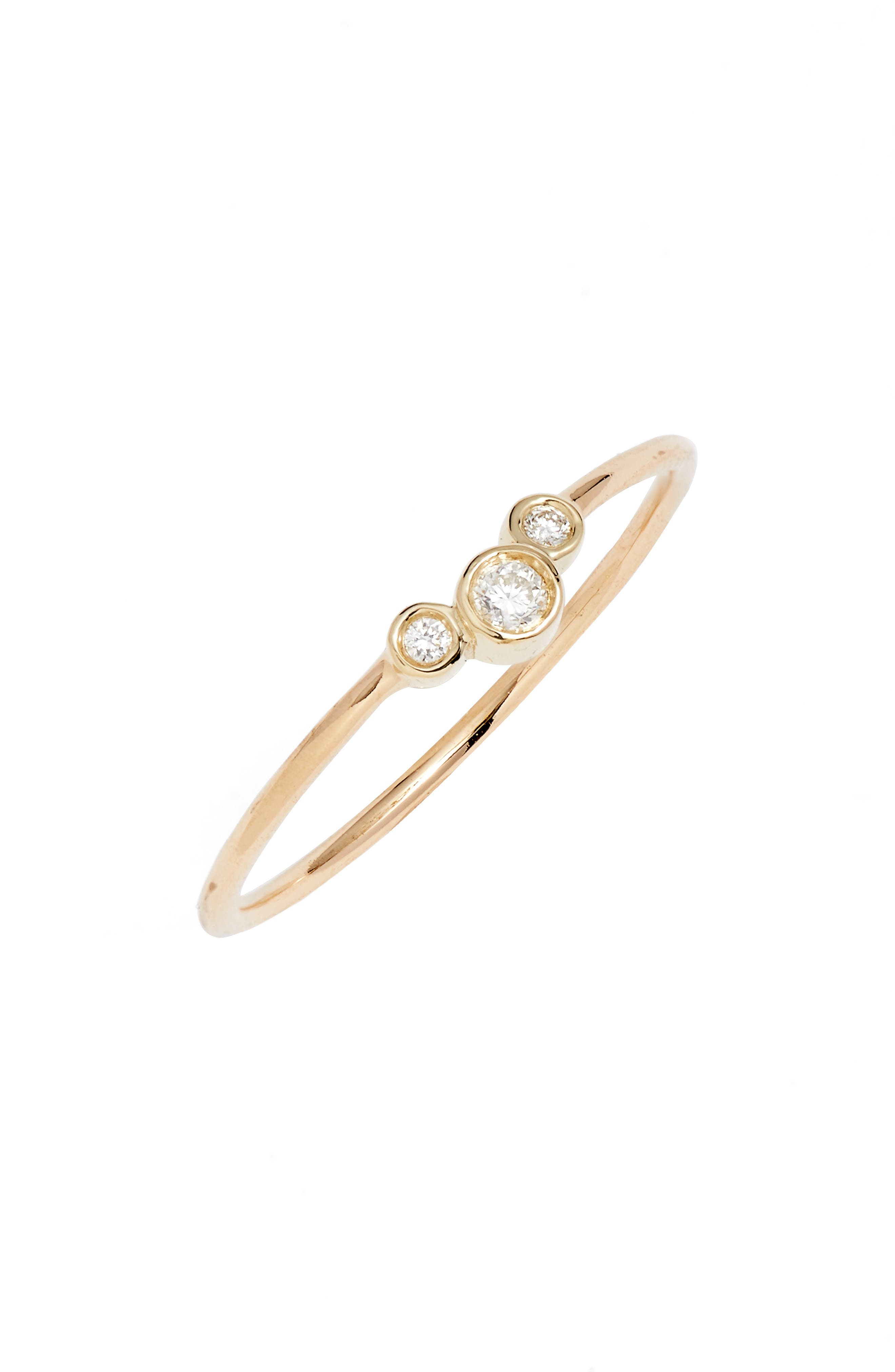 ZOË CHICCO Diamond Cluster Stackable Ring, Main, color, YELLOW GOLD