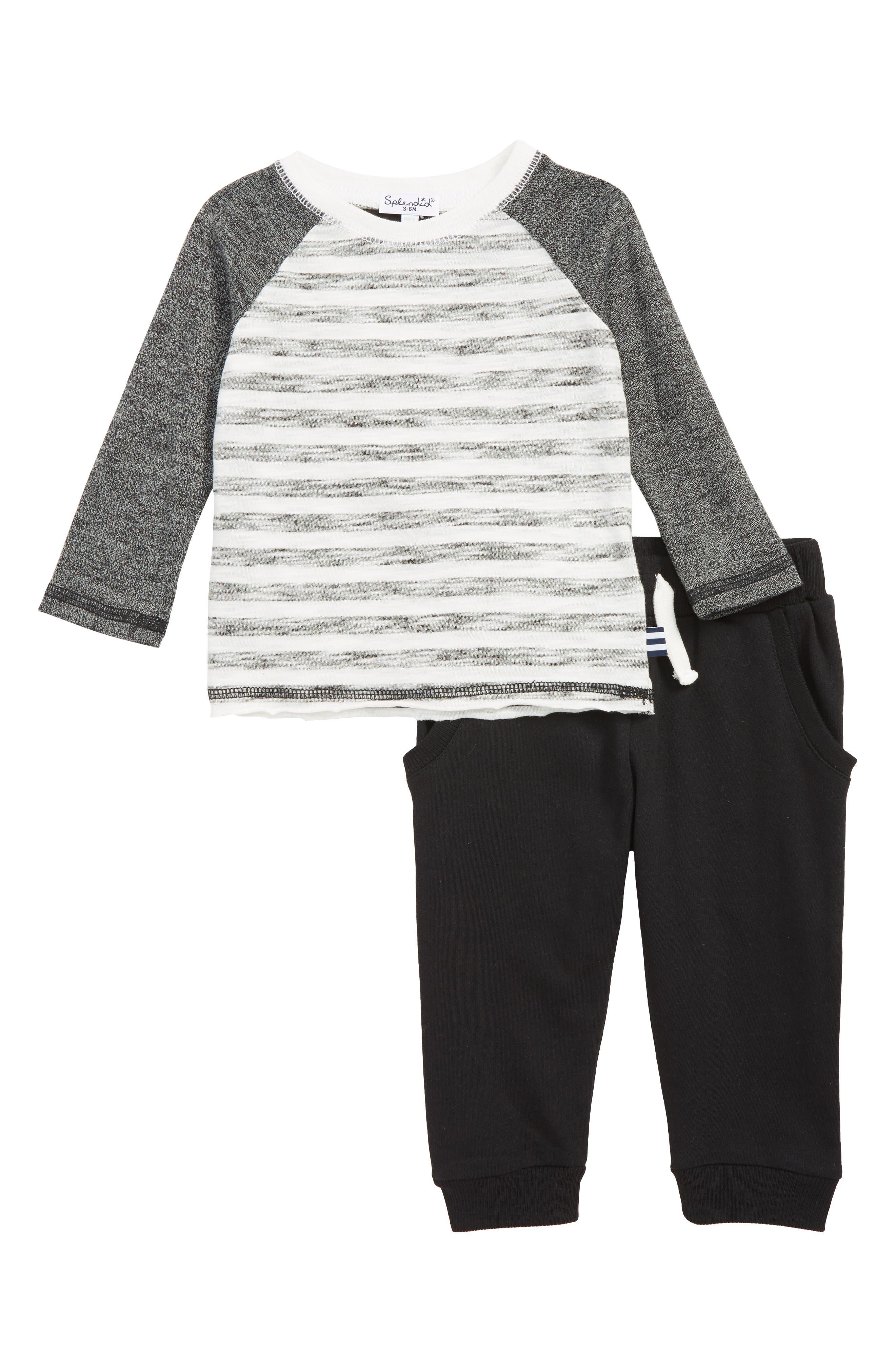 SPLENDID,                             Reverse Print Raglan Shirt & Sweatpants Set,                             Main thumbnail 1, color,                             BLACK