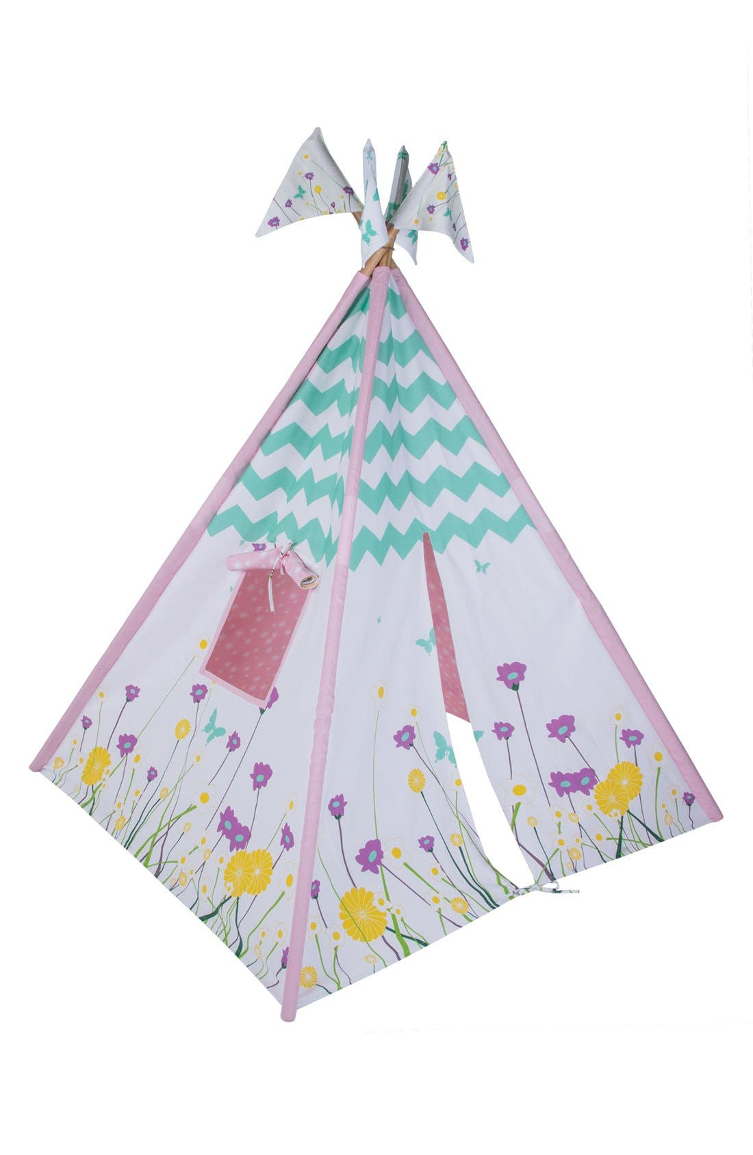 'Wildflowers' Cotton Canvas Teepee,                             Alternate thumbnail 2, color,                             BEIGE