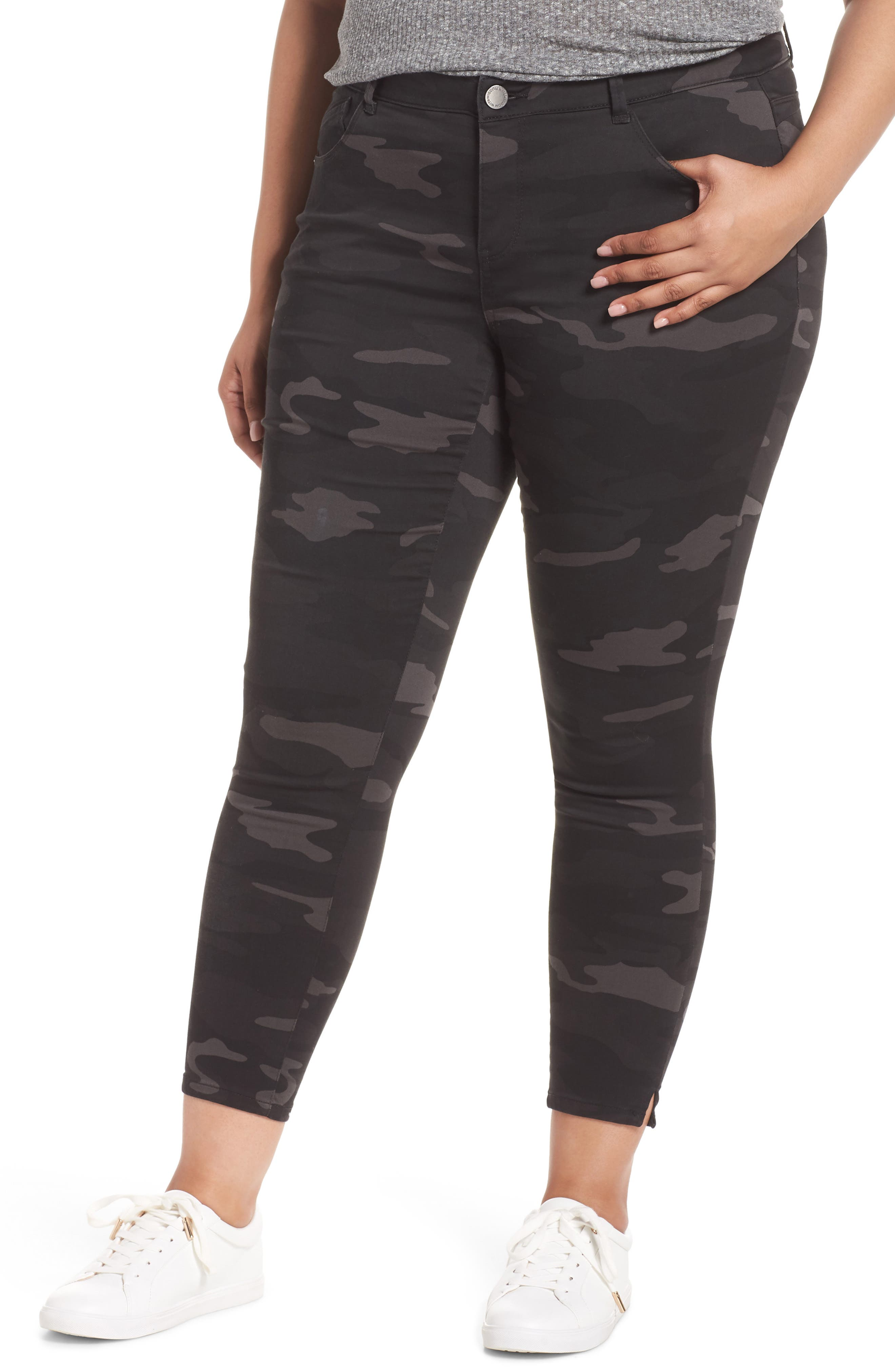 Ab-Solution Ankle Skimmer Jeans,                             Main thumbnail 1, color,                             BLACK/ CAMO