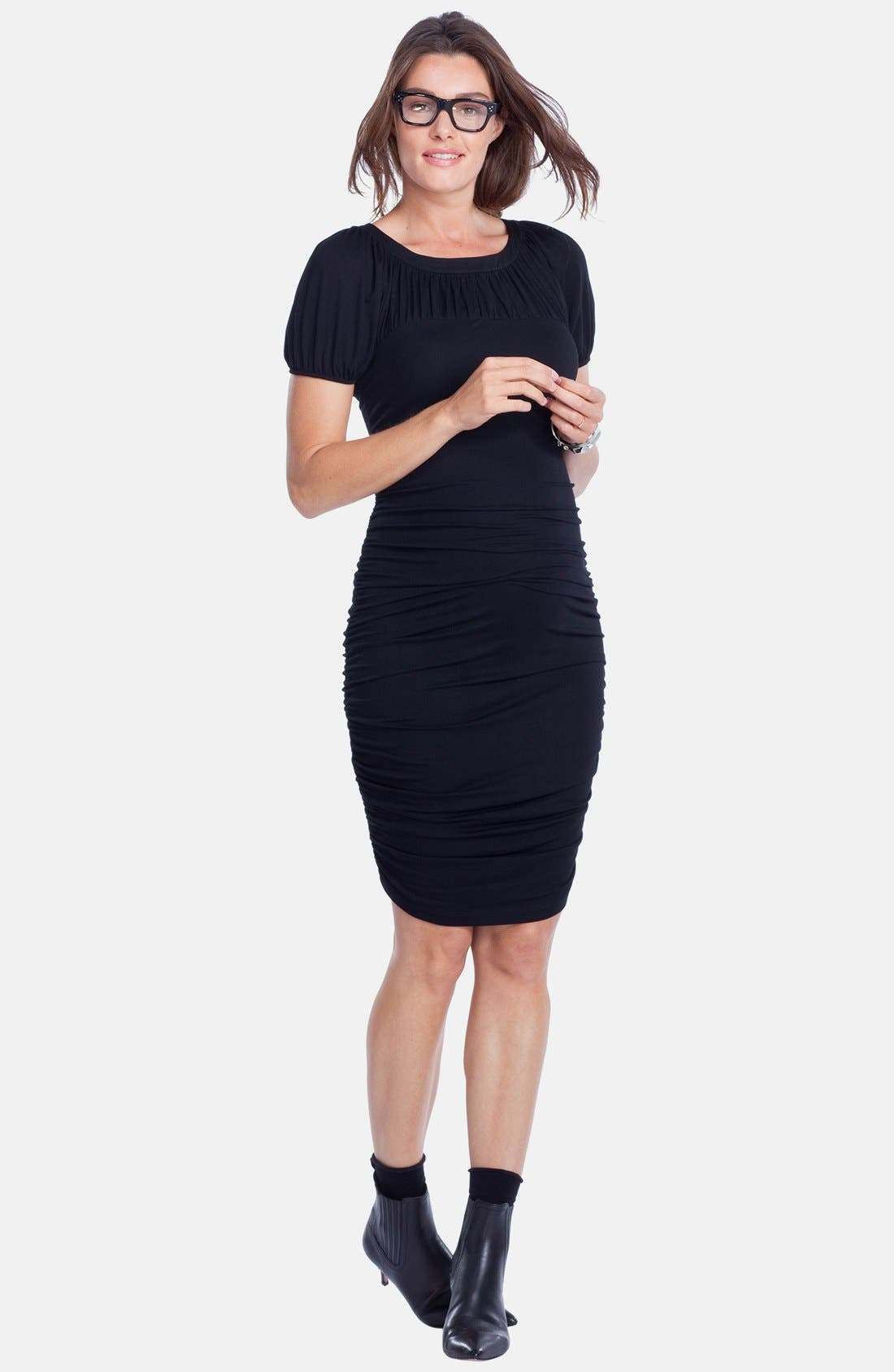 'Allerton' Ruched Maternity Dress,                             Main thumbnail 1, color,                             001