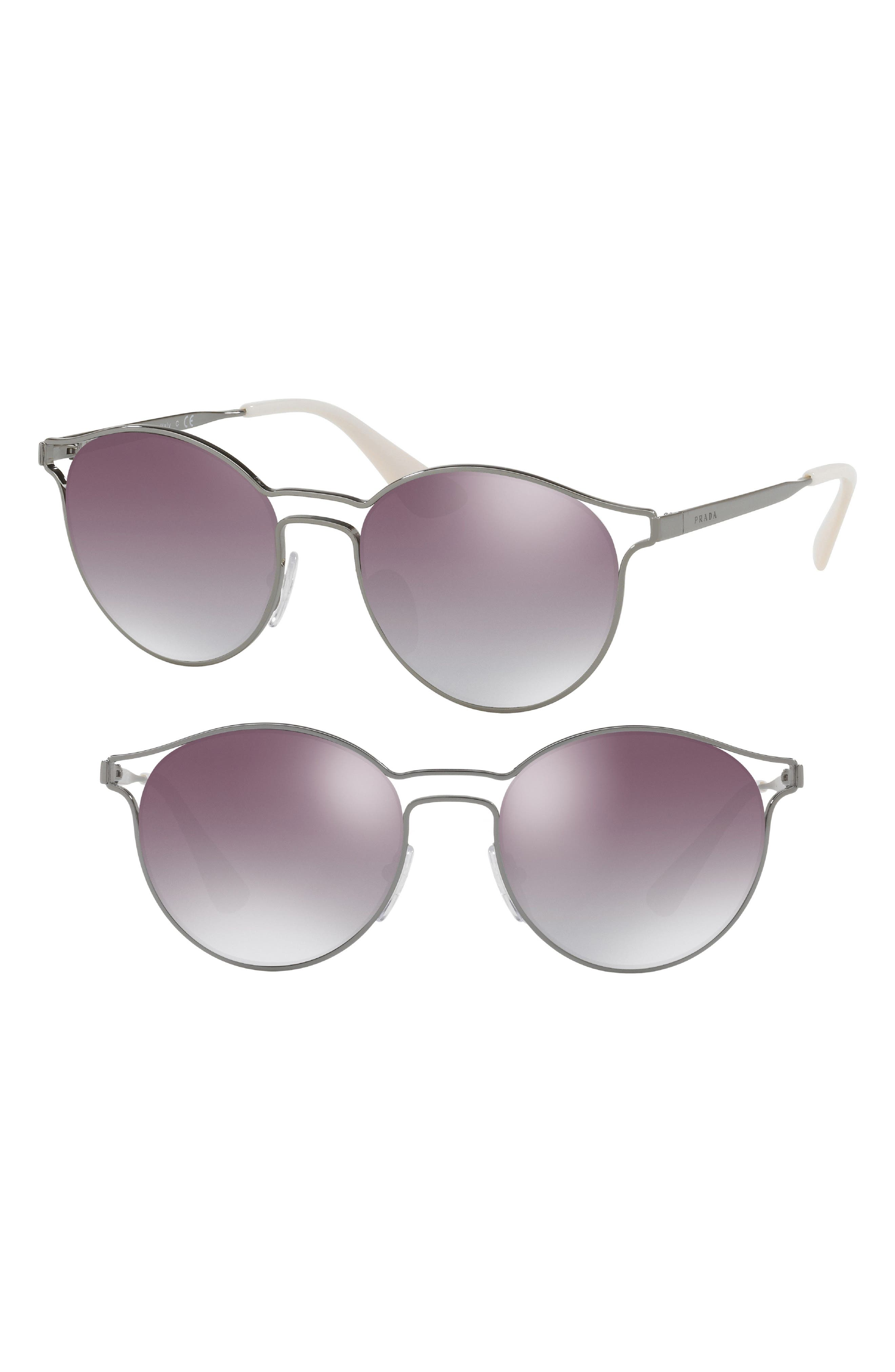 53mm Round Mirrored Sunglasses,                             Alternate thumbnail 2, color,                             062