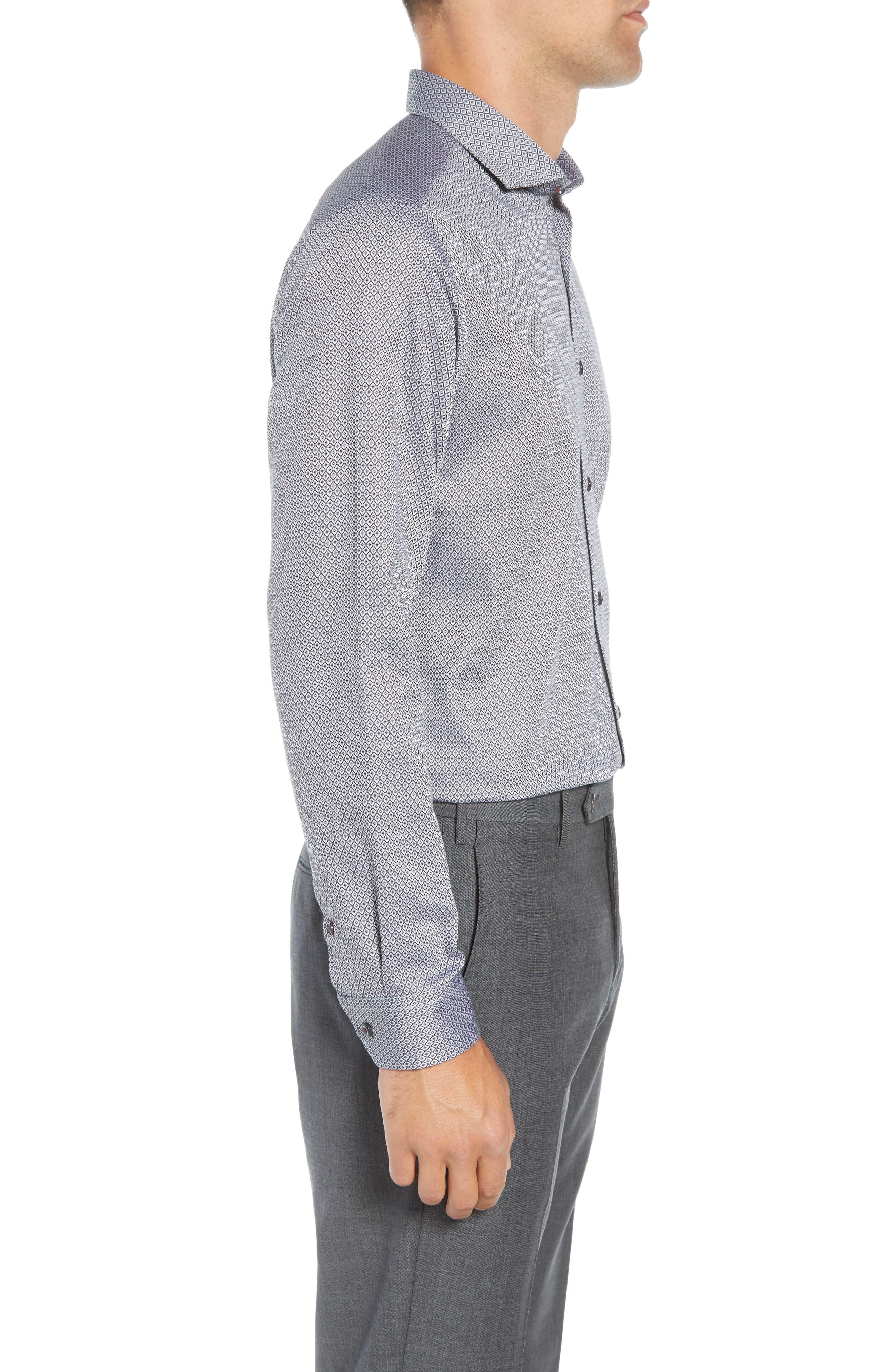 Brocco Modern Fit Geometric Dress Shirt,                             Alternate thumbnail 4, color,                             BLACK