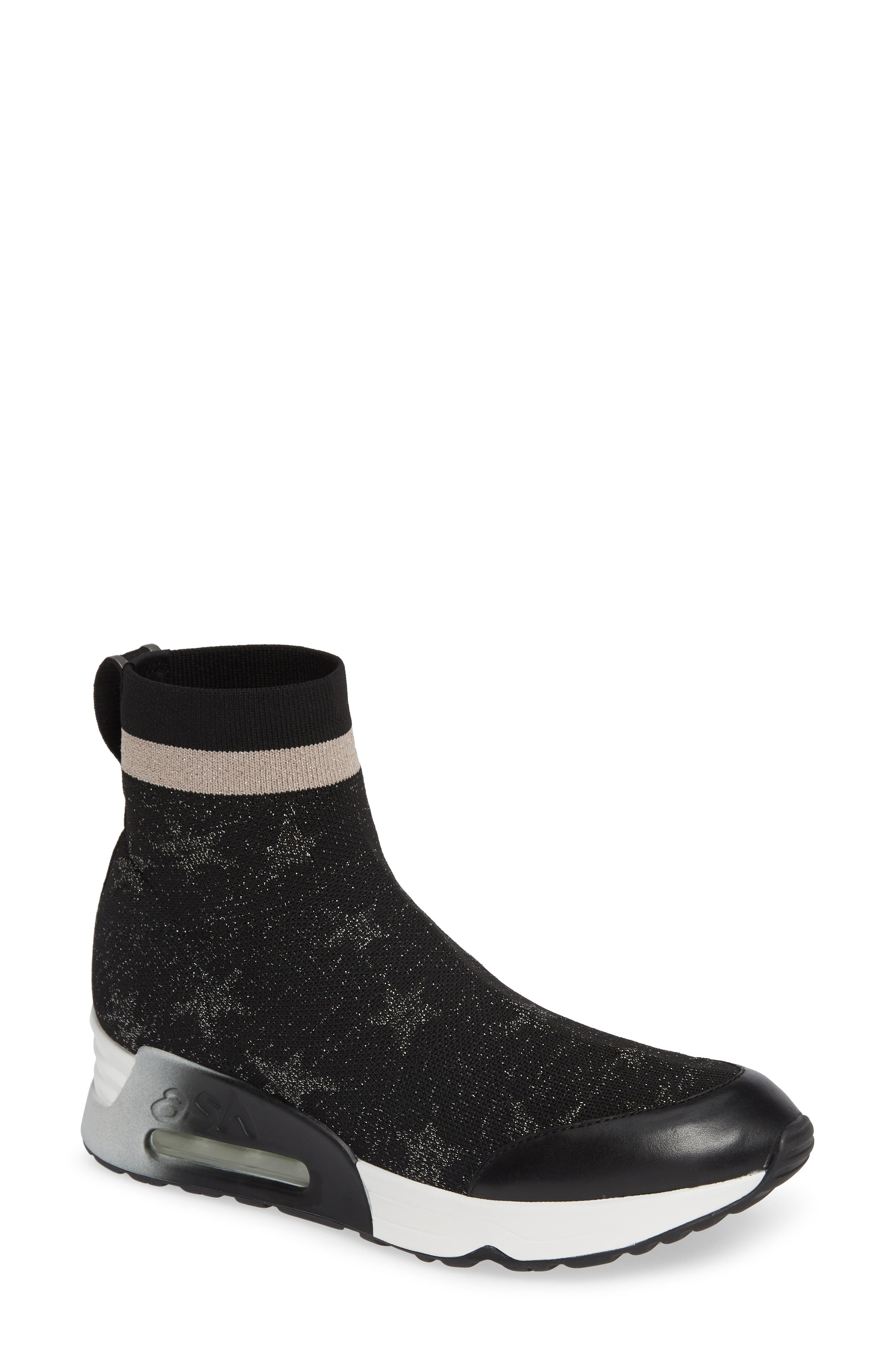 ASH Women'S Lulla Star Print Knit Platform Sneakers in Black/ Old Silver/ Black