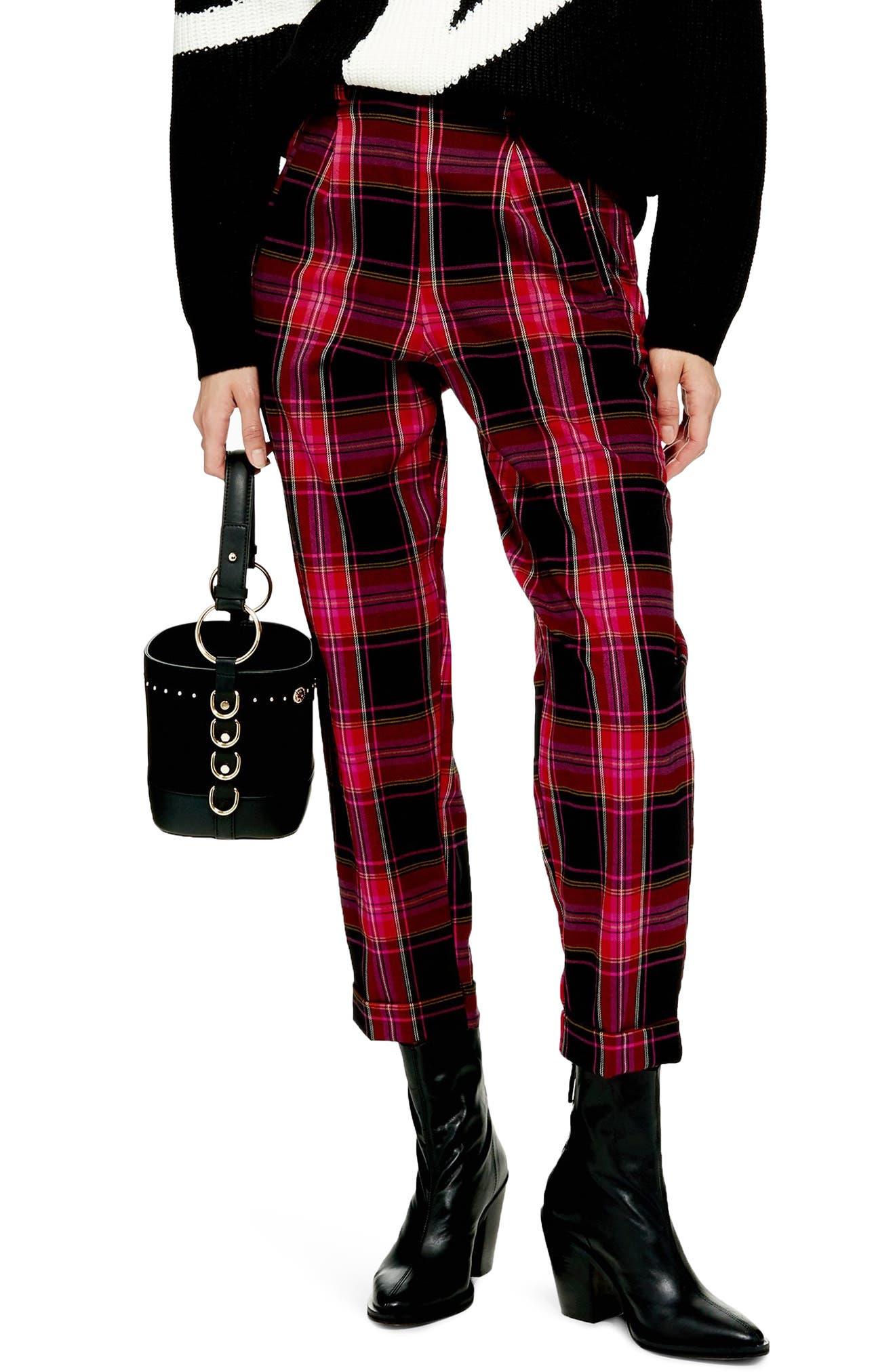 Martha Check Peg Leg Trousers,                         Main,                         color, PINK MULTI