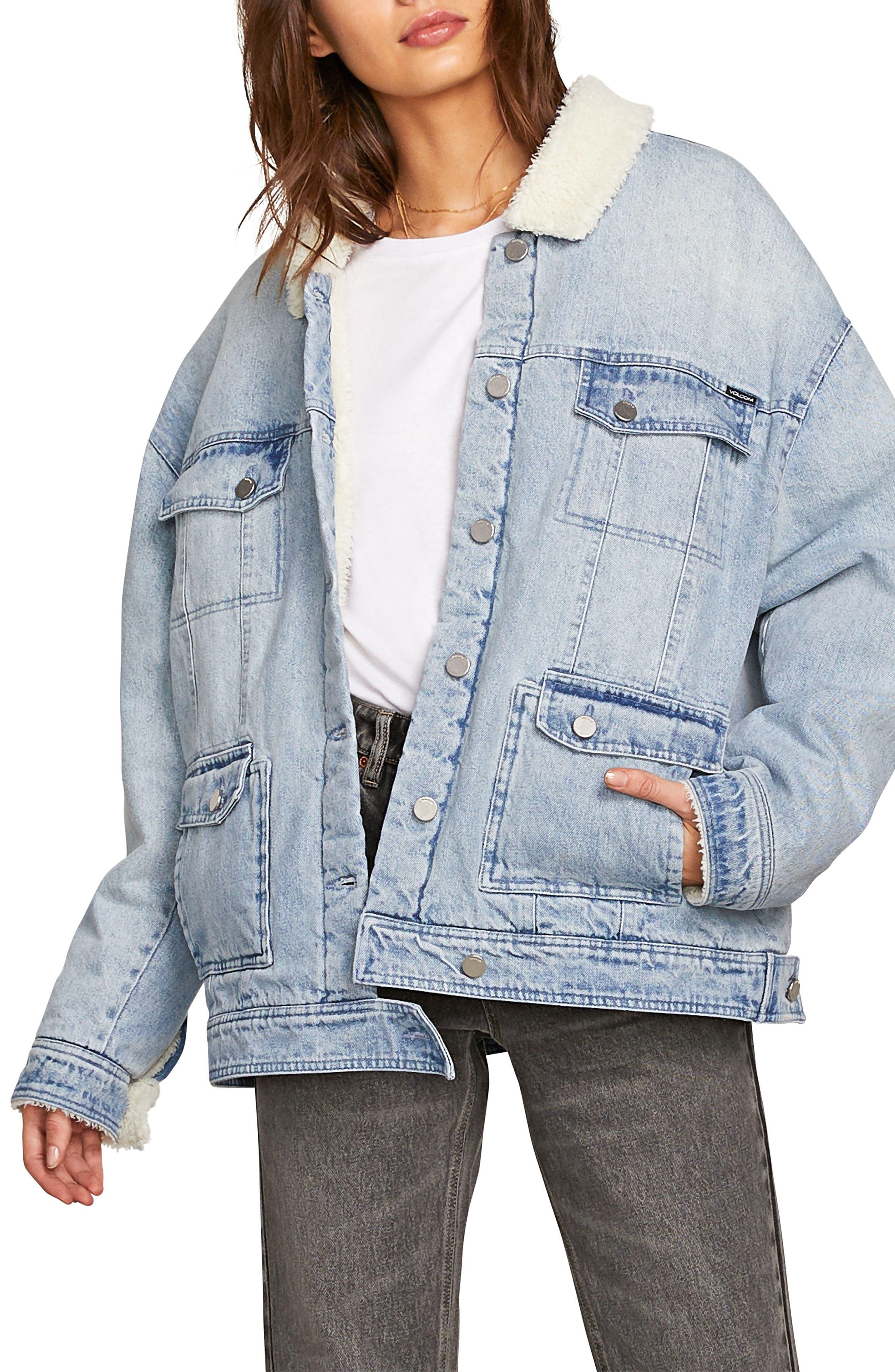 Volcom Woodstone Fleece Trim Denim Jacket, Blue