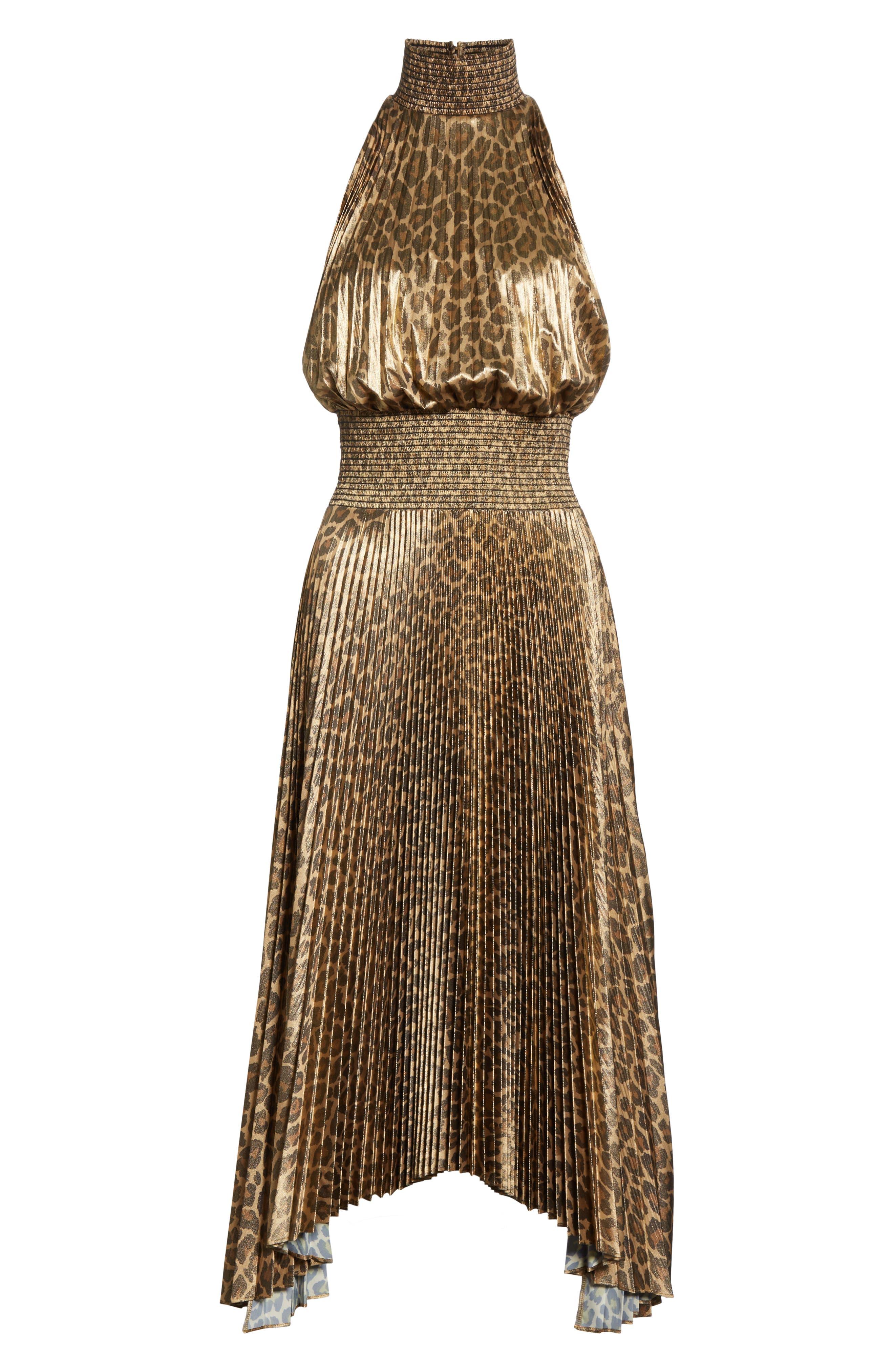 Renzo Leopard Print Metallic Foil Dress,                             Alternate thumbnail 6, color,                             METALLIC GOLD