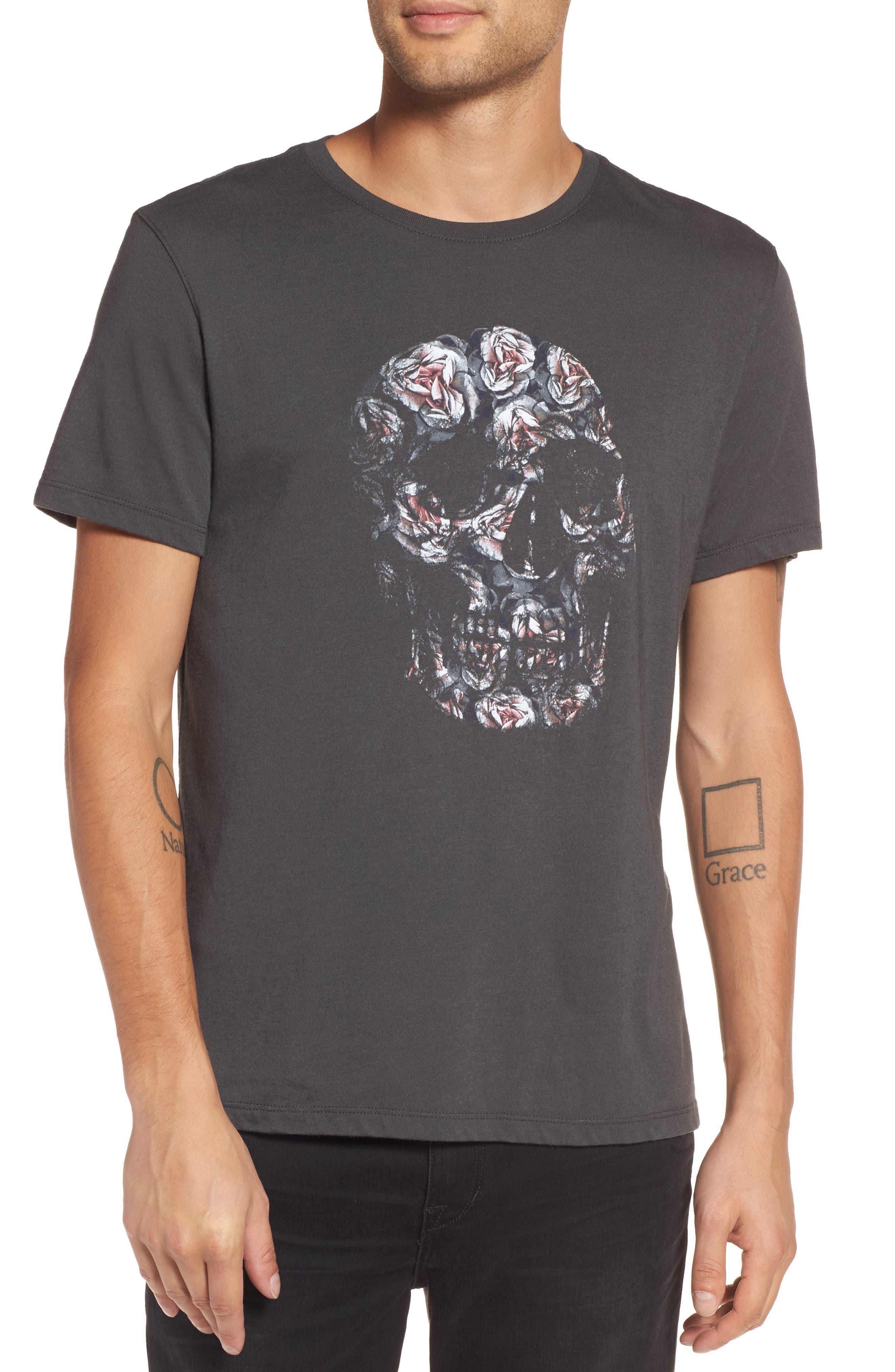 John Varvatos Floral Skull Graphic T-Shirt,                         Main,                         color, 001