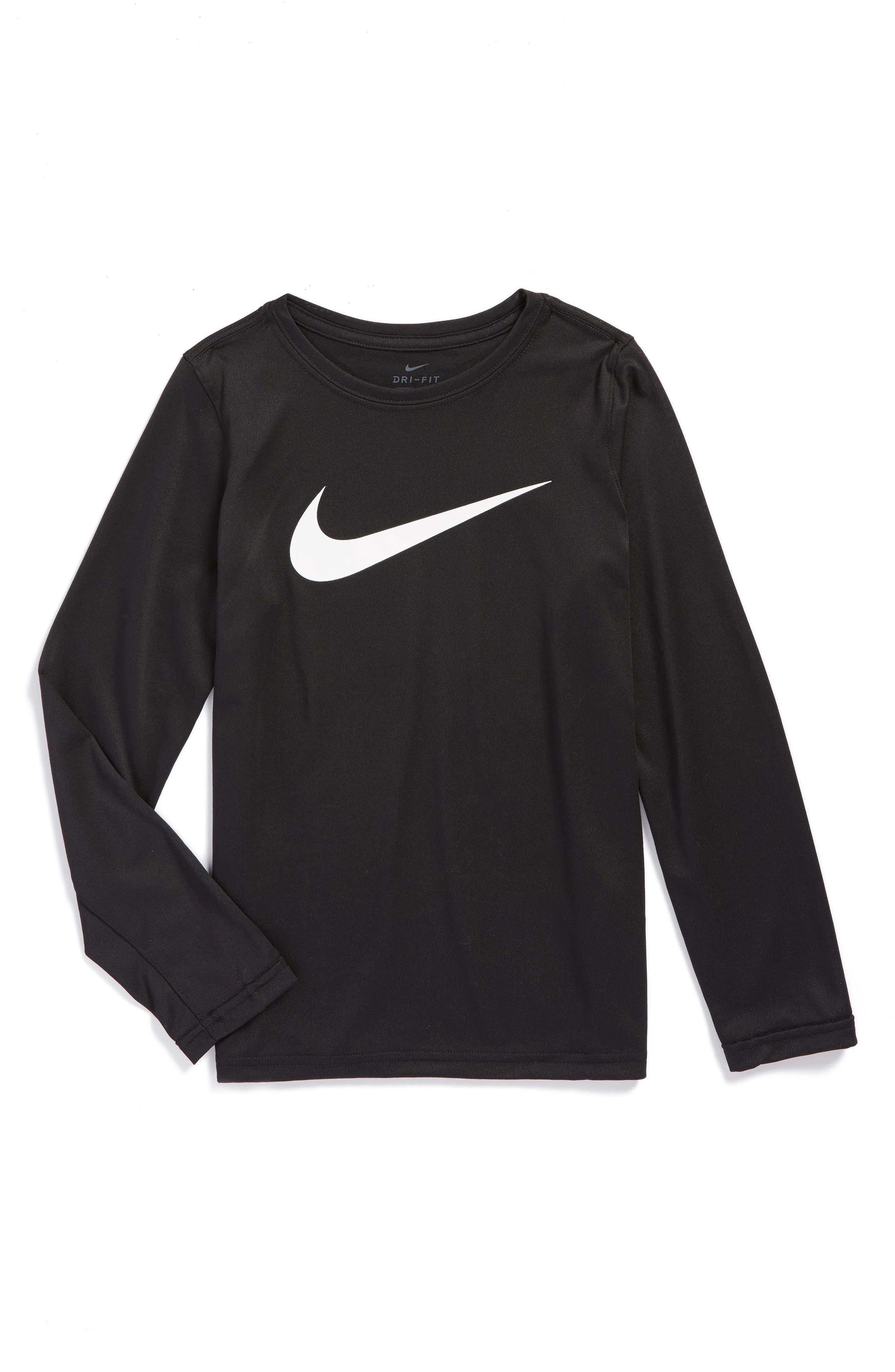 Dry Long Sleeve Swoosh Logo T-Shirt,                         Main,                         color, 010