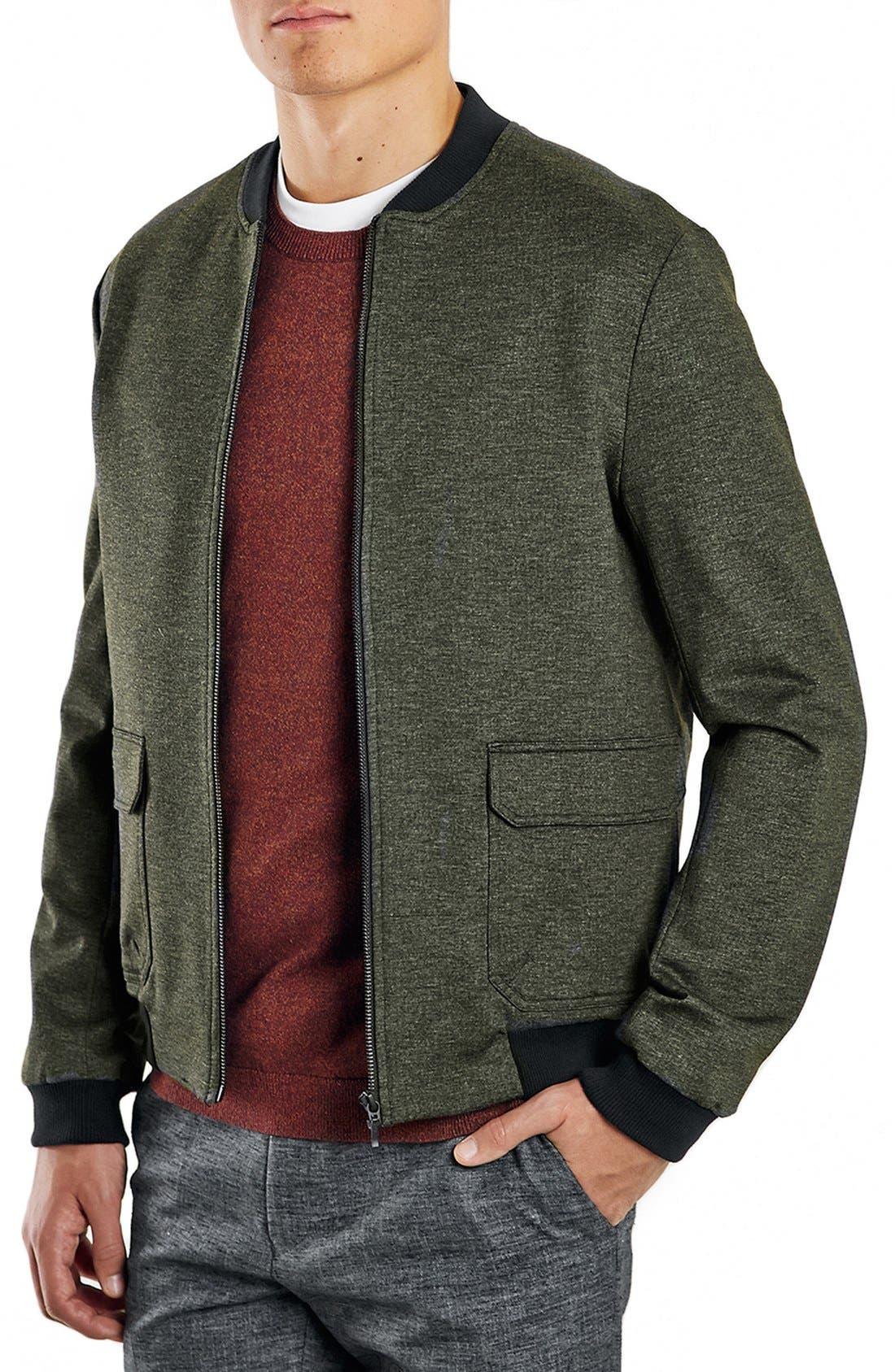 TOPMAN Olive Bomber Jacket, Main, color, 300