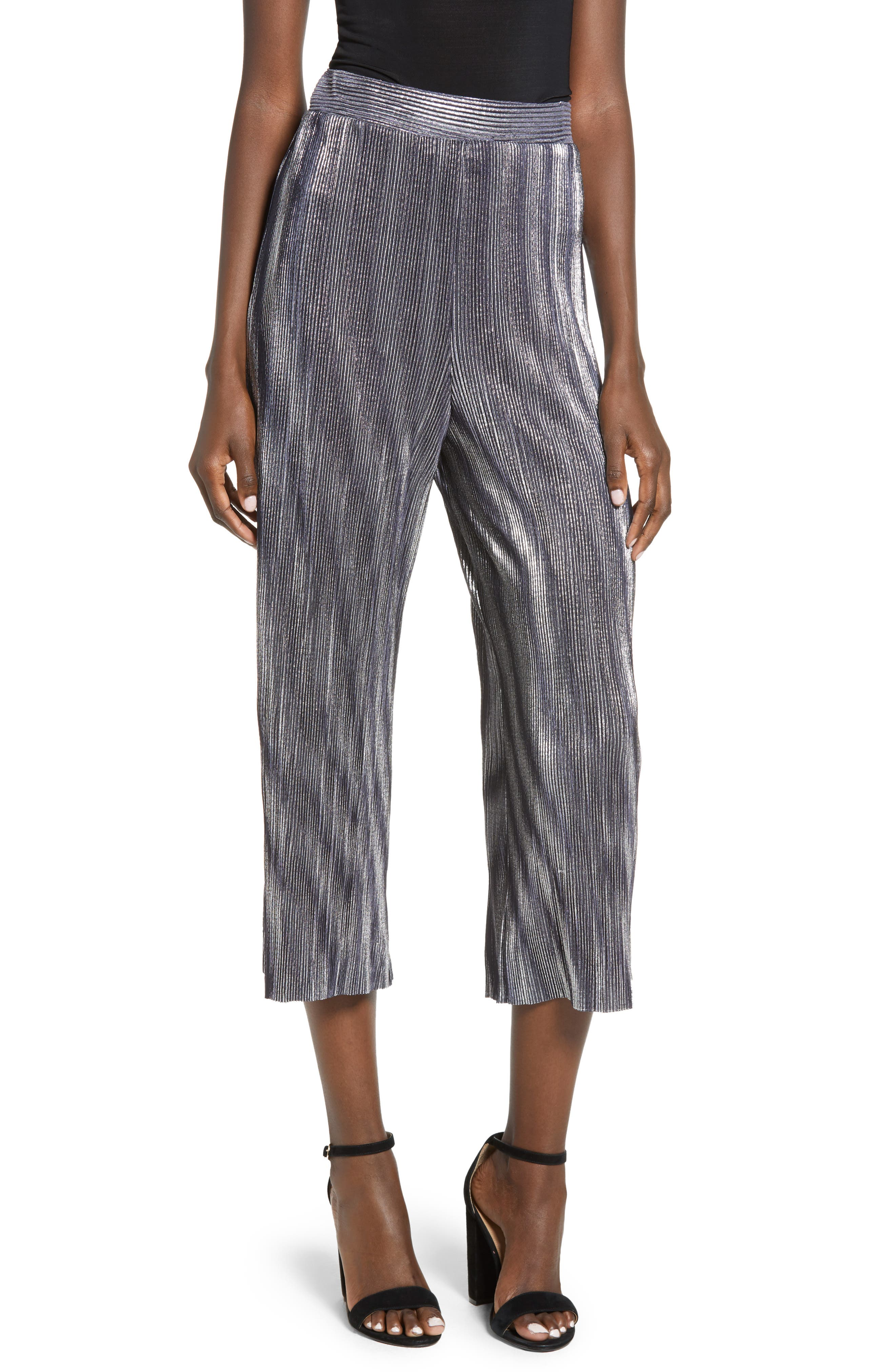 Metallic Mini Pleat Gaucho Crop Pants,                         Main,                         color, SILVER